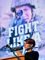 "Keynote speaker US Marine Corps veteran Kate Germano, author of ""Fight Like a Girl,"" during the 2018 York County Veterans Day Celebration, Sunday, November 11, 2018.  John A. Pavoncello photo"
