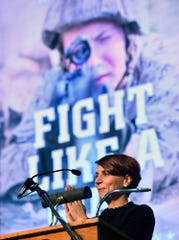 "Keynote speaker US Marine Corps veteran Kate Germano, author of ""Fight Like a Girl,"" during the 2018 York County Veterans Day Celebration, Sunday, November 11, 2018.  John A. Pavoncello photo"