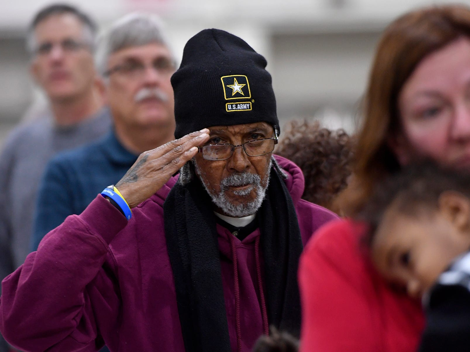 Taree Hanes of York salutes during the playing of the national anthem at the 2018 York County Veterans Day Celebration, Sunday, November 11, 2018. Hanes served in the US Army during the Korean War.John A. Pavoncello photo