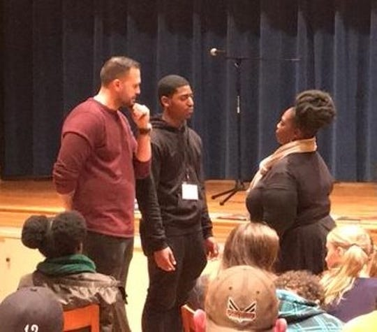 Actor/acting coach Max Decker, left, gives instruction to Curtis Earl Davis III of York, middle, and Mylea Thompson of York during a workshop at Union Lutheran Church in York on Friday, Nov. 9, 2018.