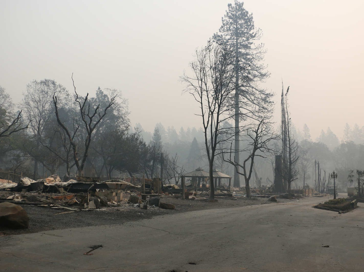 Destruction from the Camp Fire is seen in and around Paradise, Calif., on Nov. 10, 2018.