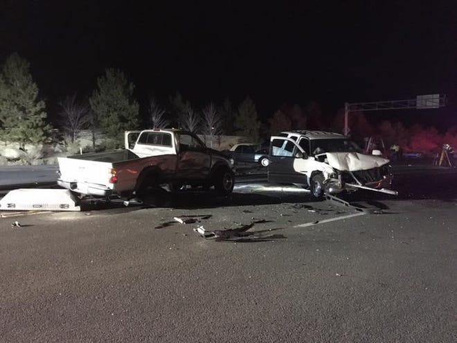 Three people died Saturday, Nov. 10, 2018 in a three-vehicle crash on Mt. Rose Highway.