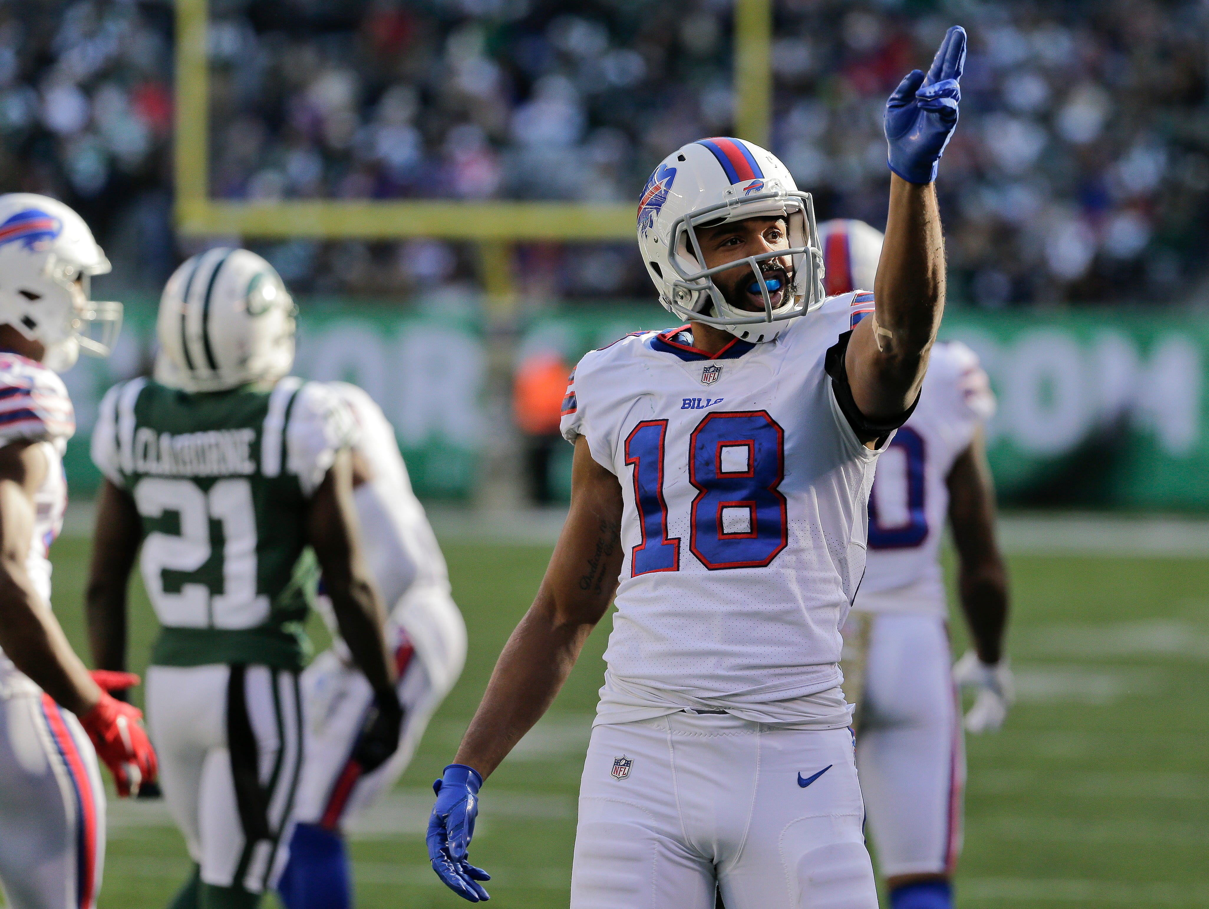 Buffalo Bills wide receiver Andre Holmes (18) reacts after a first down against the New York Jets during the second quarter of an NFL football game, Sunday, Nov. 11, 2018, in East Rutherford, N.J. (AP Photo/Seth Wenig)