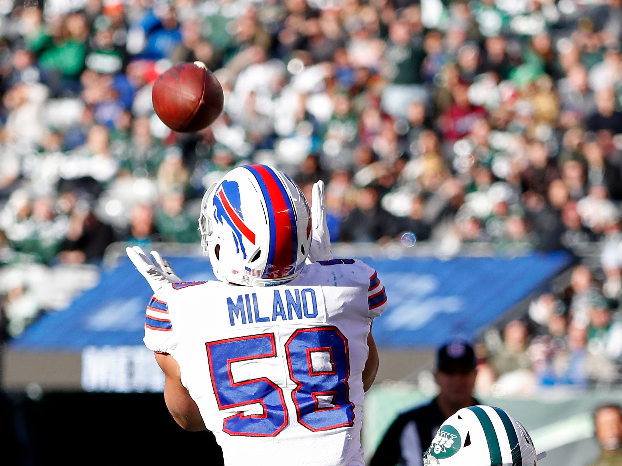 EAST RUTHERFORD, NEW JERSEY - NOVEMBER 11: Matt Milano #58 of the Buffalo Bills intercepts the pass during the second quarter against the New York Jets at MetLife Stadium on November 11, 2018 in East Rutherford, New Jersey. (Photo by Michael Owens/Getty Images)