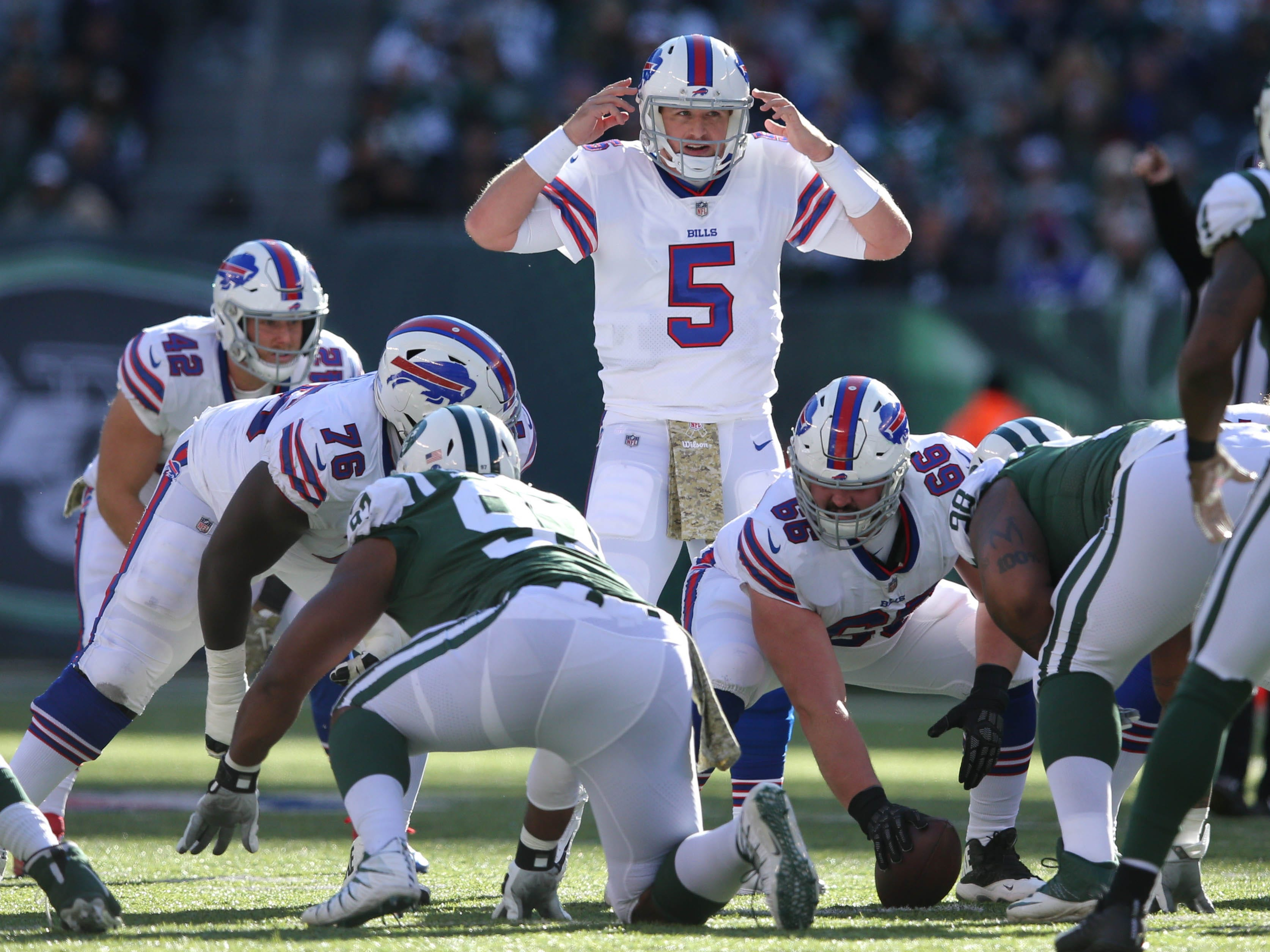 Nov 11, 2018; East Rutherford, NJ, USA; Buffalo Bills quarterback Matt Barkley (5) calls a play against the New York Jets during the second quarter at MetLife Stadium. Mandatory Credit: Brad Penner-USA TODAY Sports