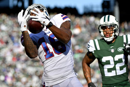 Robert Foster of the Buffalo Bills makes a first-down reception during the first quarter against Trumaine Johnson of the New York Jets at MetLife Stadium on Nov. 11.