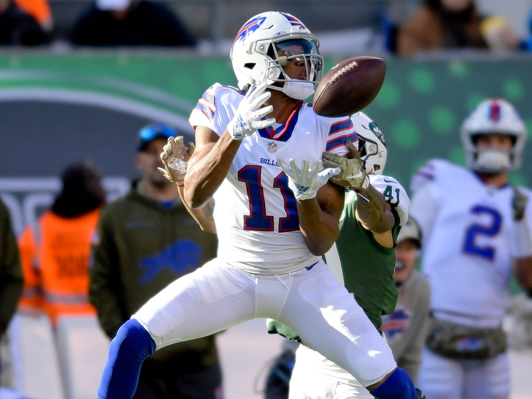 Buffalo Bills wide receiver Zay Jones (11) catches a pass against New York Jets cornerback Buster Skrine (41) during the second quarter of Buffalo's 41-10 win in East Rutherford, N.J. on Sunday.