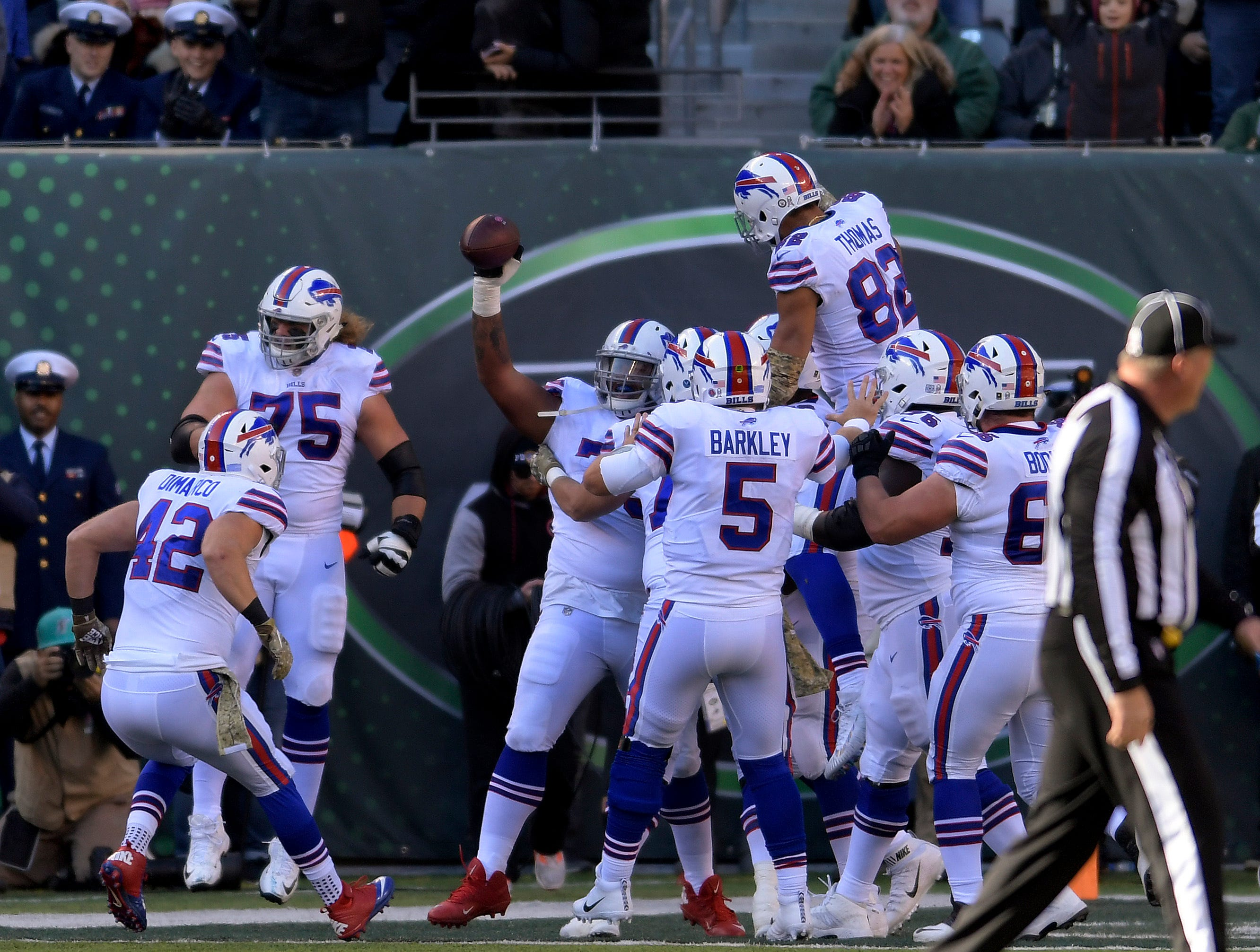 The Buffalo Bills celebrate after a touchdown against the New York Jets during the second quarter of an NFL football game, Sunday, Nov. 11, 2018, in East Rutherford, N.J. (AP Photo/Bill Kostroun)