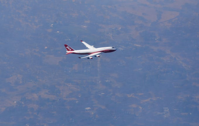 The Global SuperTanker, the world's largest airtanker, joined the fight against the Camp Fire near Paradise, California on Sunday, Nov. 11, 2018.