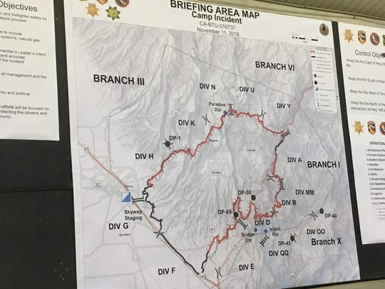 Official incident map for the Camp Fire as of Sunday morning, November 11, 2018.