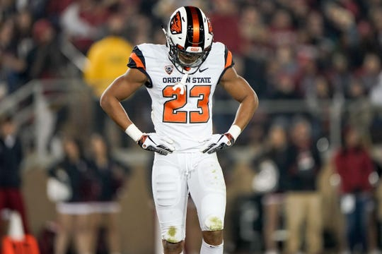 Nov 10, 2018; Stanford, CA, USA; Oregon State Beavers cornerback Isaiah Dunn (23) reacts against the Stanford Cardinal during the second quarter at Stanford Stadium. Mandatory Credit: Stan Szeto-USA TODAY Sports