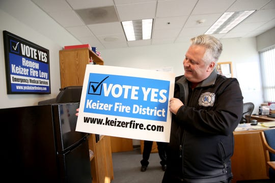 Keizer Fire Chief, Jeff Cowan, explains what funding from the five-year tax levy goes toward at the Keizer Fire District on Tuesday, Nov. 8, 2018, in Keizer. Citizens voted to renew the operational tax this year.