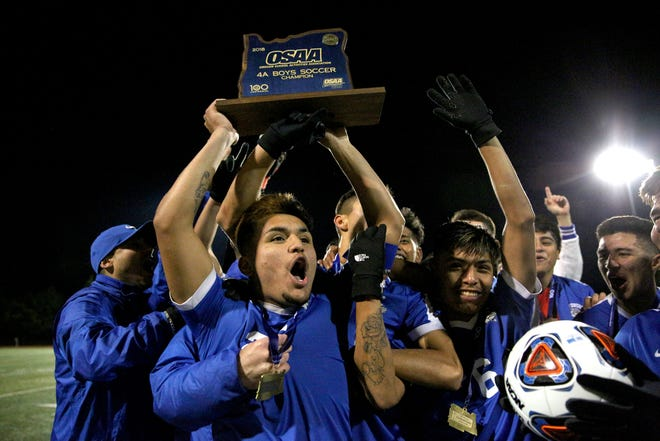Woodburn soccer wins their third state championship in a row against North Marion in the final round of the OSAA 4A soccer playoffs on Saturday, Nov. 10, 2018, in Hillsboro.