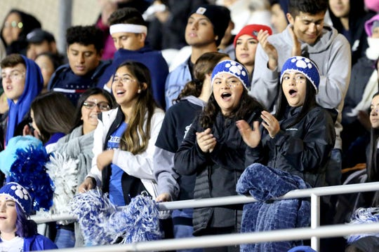 Woodburn's supporters cheer them on during the final round of the OSAA 4A soccer playoffs on Saturday, Nov. 10, 2018, in Hillsboro.