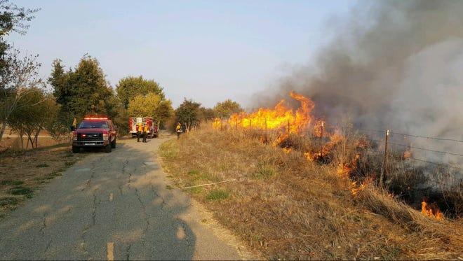 Salinas firefighters battle a blaze near Natividad.