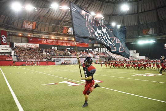 Brandon Valley takes the field before the game against Washington Saturday, Nov. 10, at the DakotaDome in Vermillion.