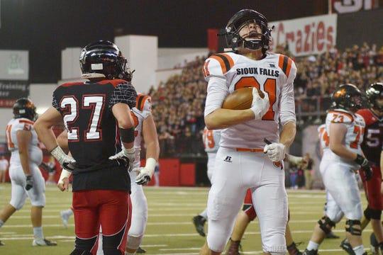 Washington's Gabe Person celebrates a touchdown during the game against Brandon Valley Saturday, Nov. 10, at the DakotaDome in Vermillion.