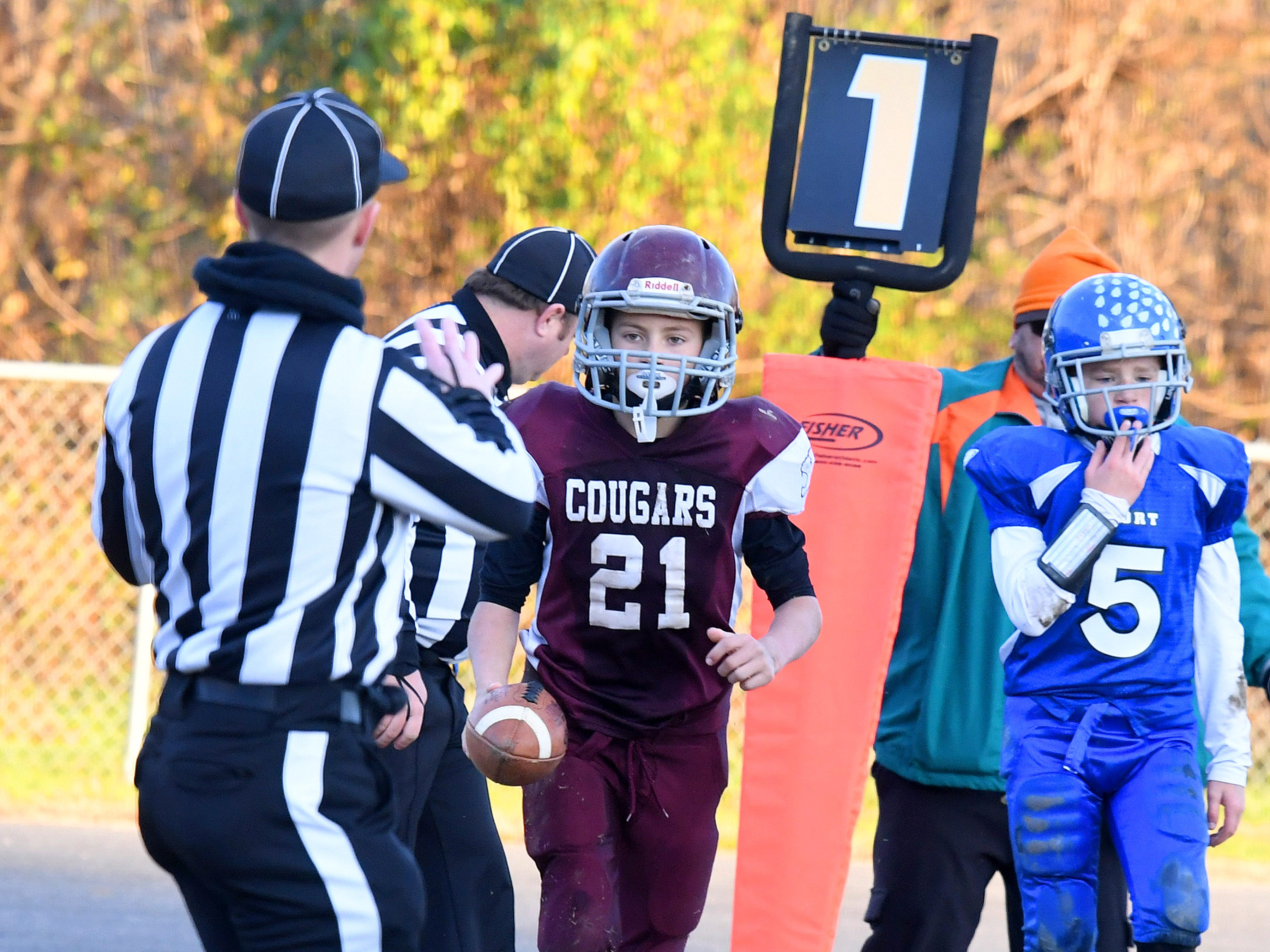 Stuarts Draft's Landon Graber comes up with the ball after making it into the end zone for a touchdown during the Augusta County Quarterback Club Juniors Super Bowl in Fishersville on Sunday, Nov. 11, 2018.  Fort Defiance beats Stuarts Draft, 13-12.