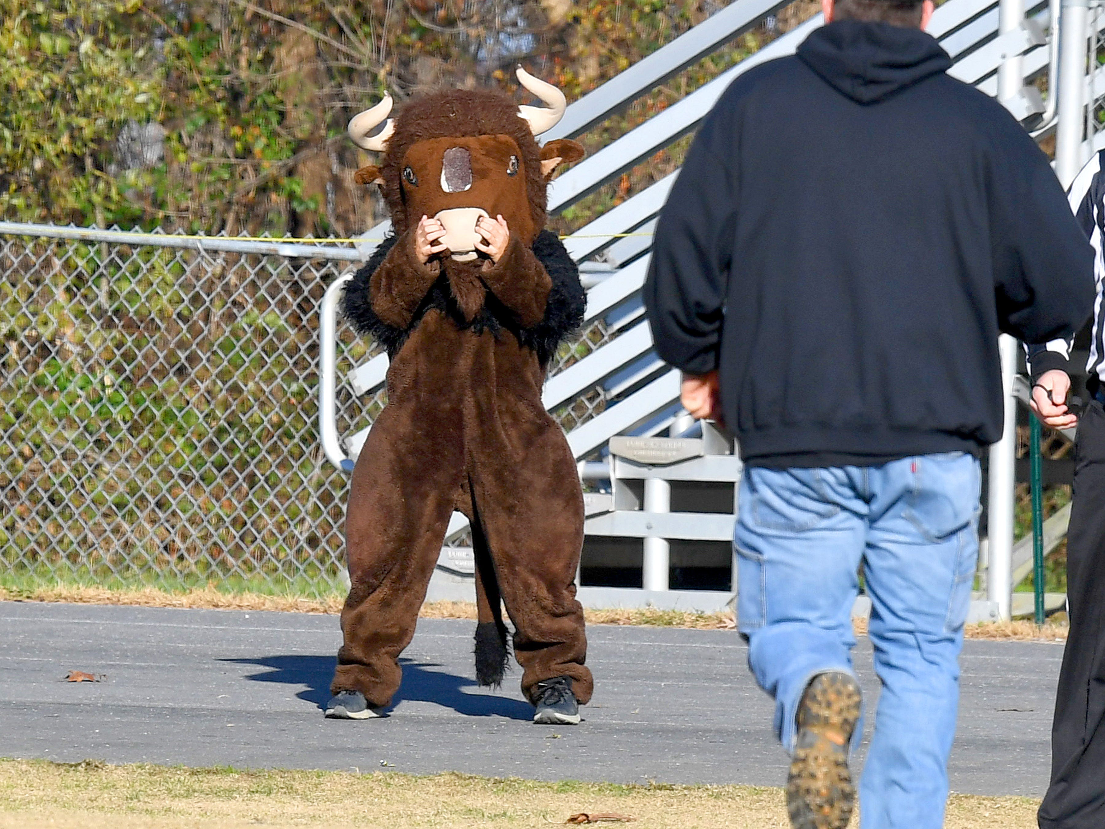 Buffalo Gap mascot cheers from their sidelines during the Augusta County Quarterback Club Midget Super Bowl in Fishersville on Sunday, Nov. 11, 2018. Riverheads beat Buffalo Gap, 25-6.