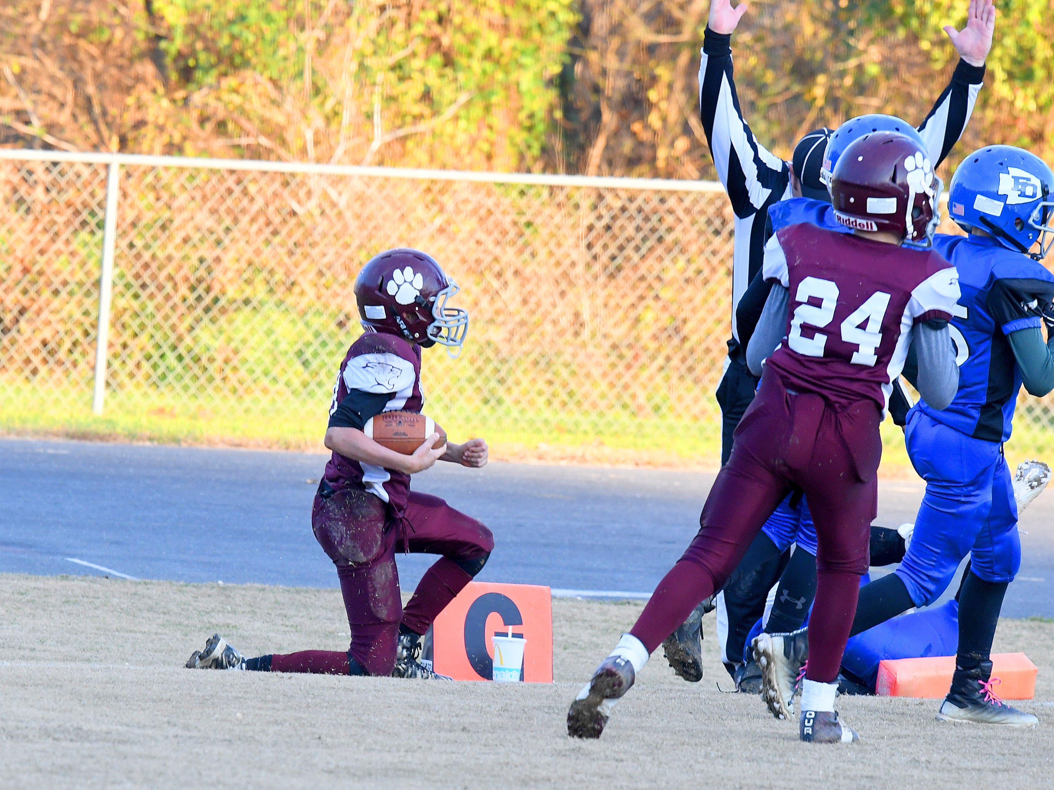 Stuarts Draft's Landon Graber makes it into the end zone for a touchdown during the Augusta County Quarterback Club Juniors Super Bowl in Fishersville on Sunday, Nov. 11, 2018.  Fort Defiance beats Stuarts Draft, 13-12.