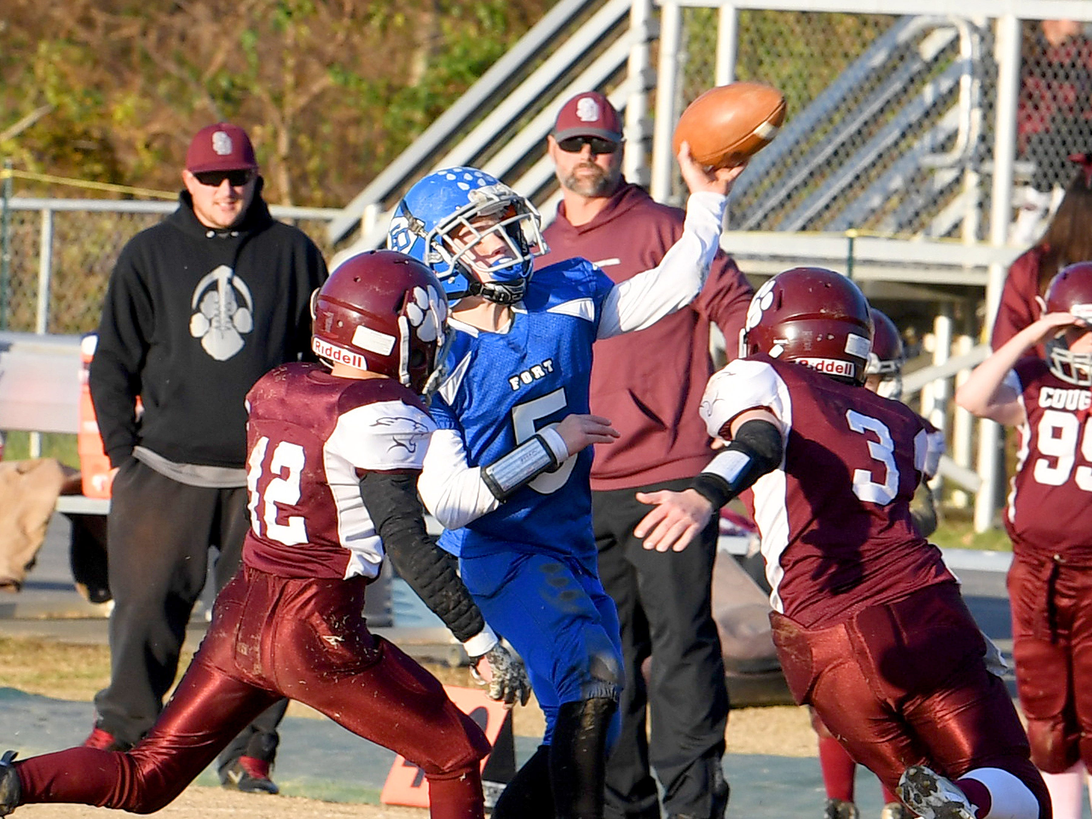 Fort Defiance quarterback Trey Miller fires off a pass during the Augusta County Quarterback Club Juniors Super Bowl in Fishersville on Sunday, Nov. 11, 2018.  Fort Defiance beats Stuarts Draft, 13-12.