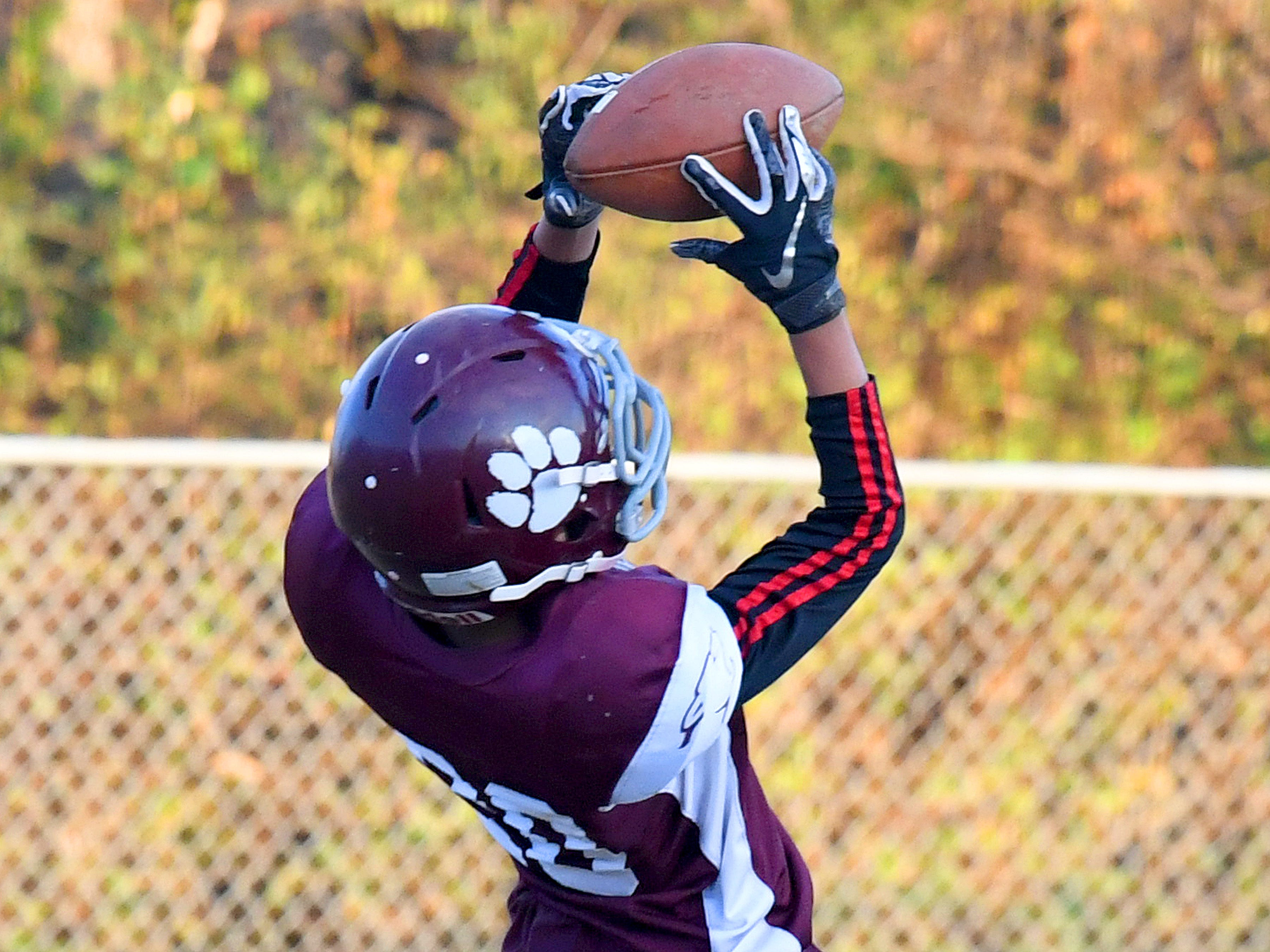 Stuarts Draft's Christopher Watkins pulls the ball out of the air for a pass completion during the Augusta County Quarterback Club Juniors Super Bowl in Fishersville on Sunday, Nov. 11, 2018.  Fort Defiance beats Stuarts Draft, 13-12.