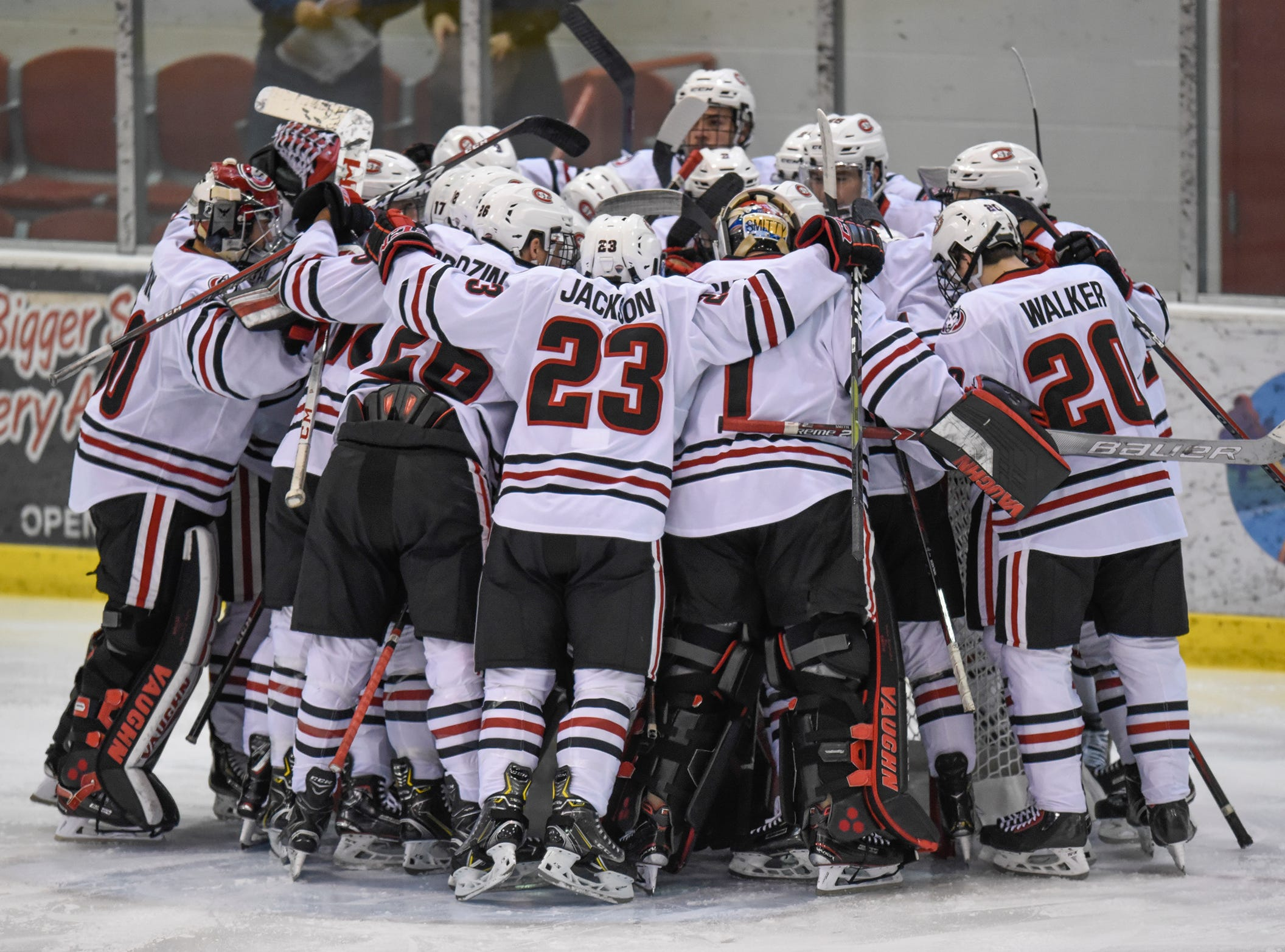 St. Cloud State players gather to start the Saturday, Nov. 10, game against the University of Denver at the Herb Brooks National Hockey Center in St. Cloud.