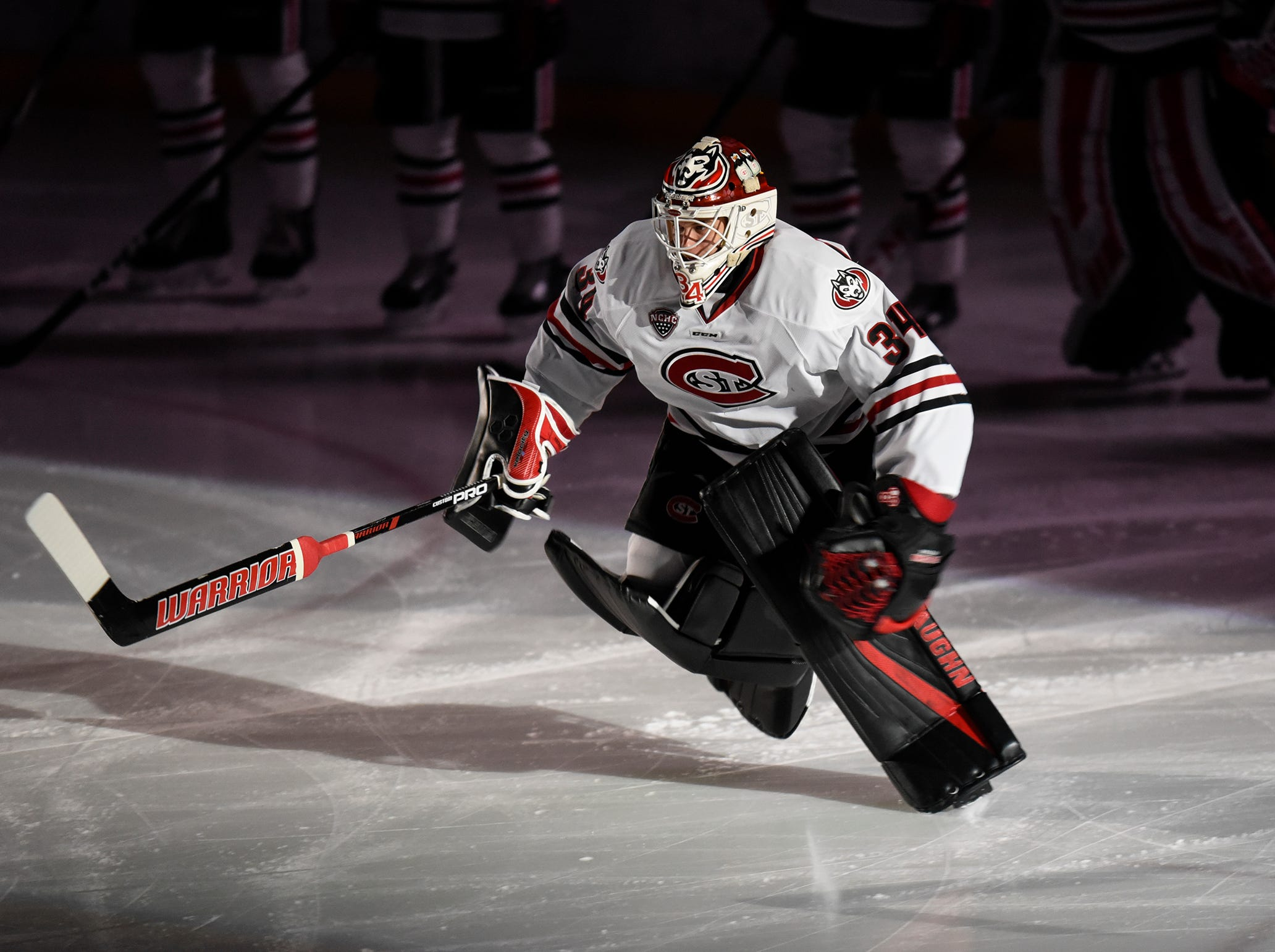 Goaltender David Hrenak is introduced before the start of the Saturday, Nov. 10, game against the University of Denver at the Herb Brooks National Hockey Center in St. Cloud.