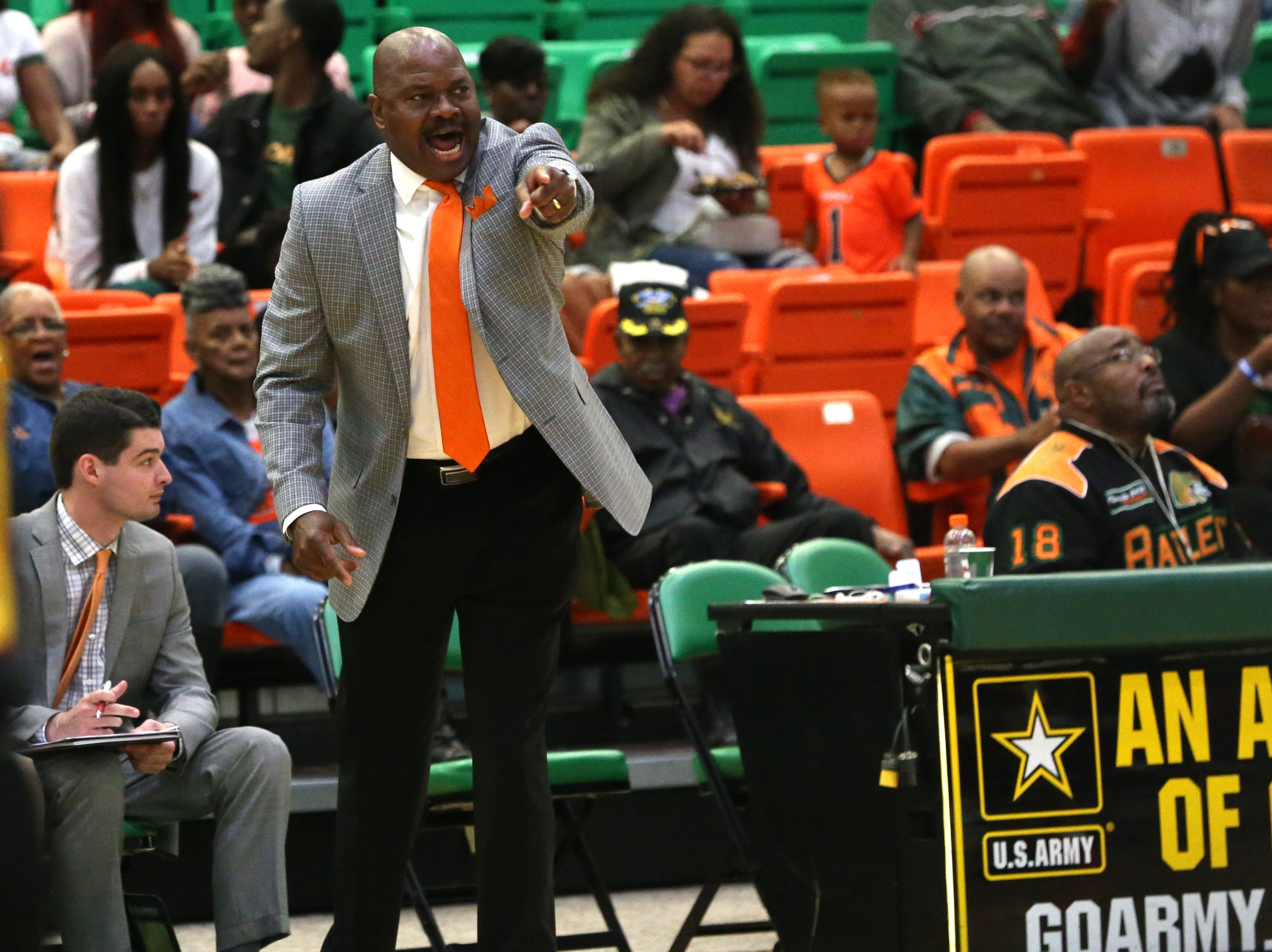 FAMU men's basketball coach Robert McCullum calls out plays for the Rattlers.
