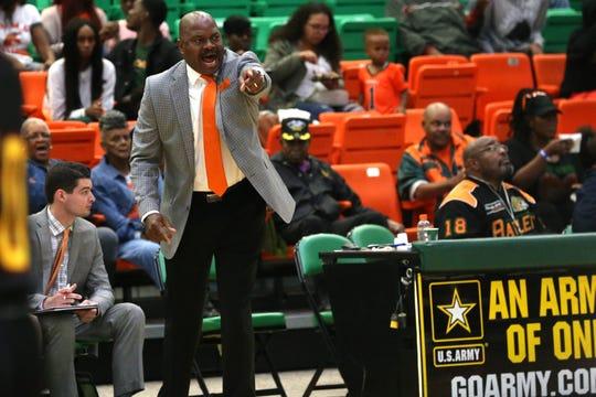 FAMU men's basketball coach Robert McCullum calls out plays for the Rattlers.