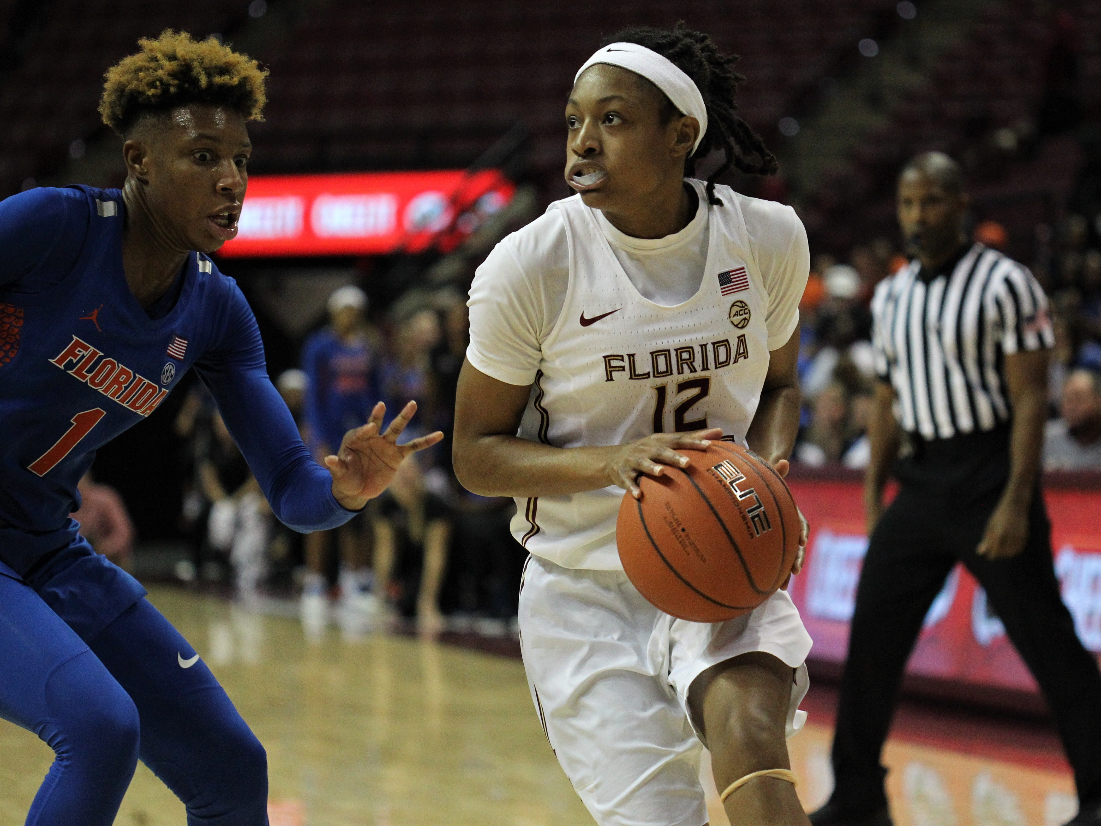 Florida State's Nicki Ekhomu drives during the second half of the Seminoles' game against Florida at the Tucker Civic Center on Nov. 11, 2018.