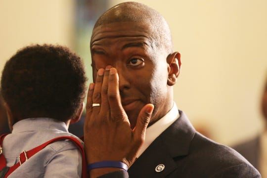 Mayor Andrew Gillum after speaking at Bethel AME Church. Following his message, the congregation prayed for a tearful Gillum and his family as the recount and race for Florida Governor continues, five days after Election Day, Sunday, Nov. 11, 2018.