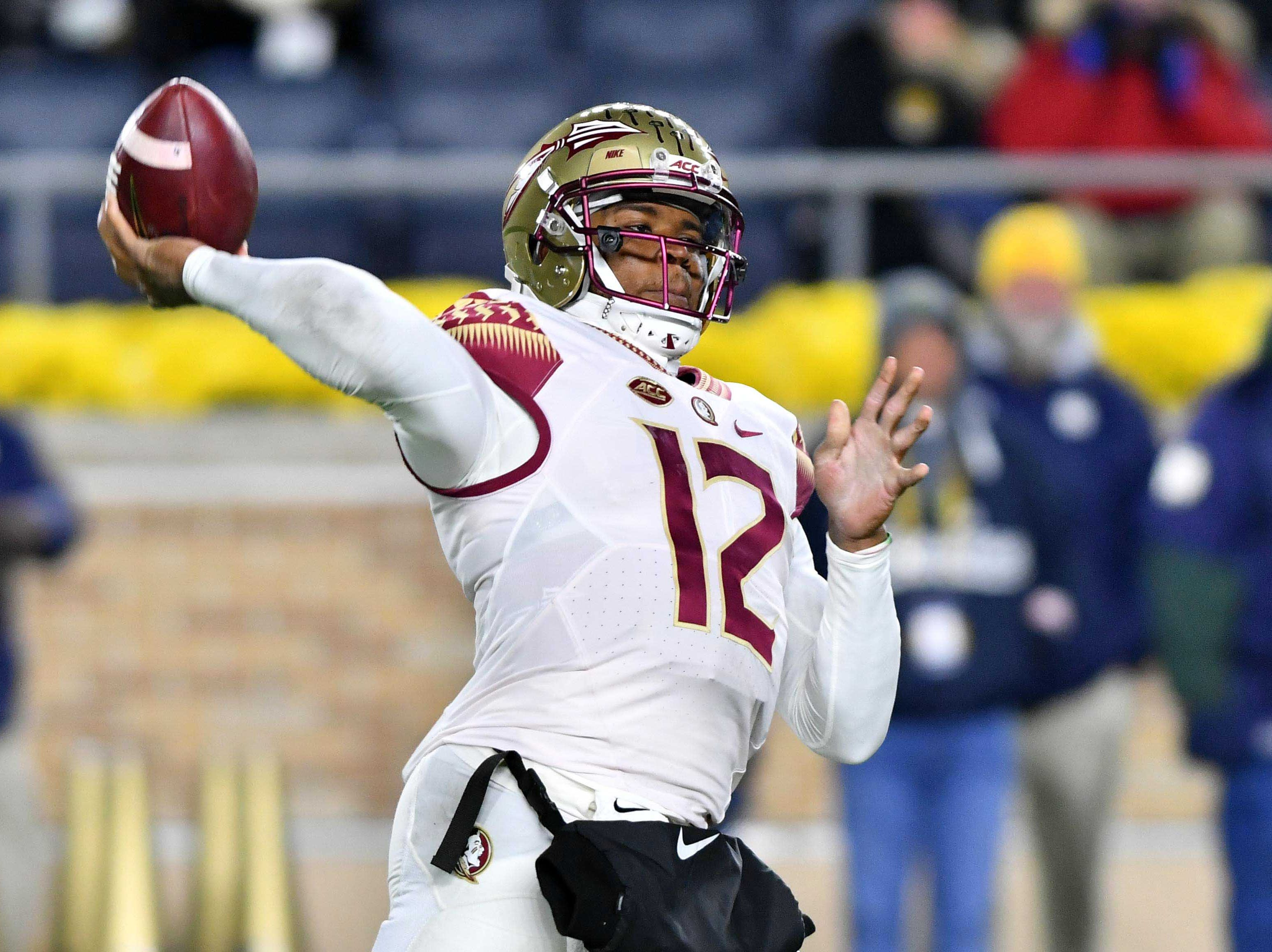 Nov 10, 2018; South Bend, IN, USA; Florida State Seminoles quarterback Deondre Francois (12) passes in the second quarter against the Notre Dame Fighting Irish at Notre Dame Stadium. Mandatory Credit: Matt Cashore-USA TODAY Sports