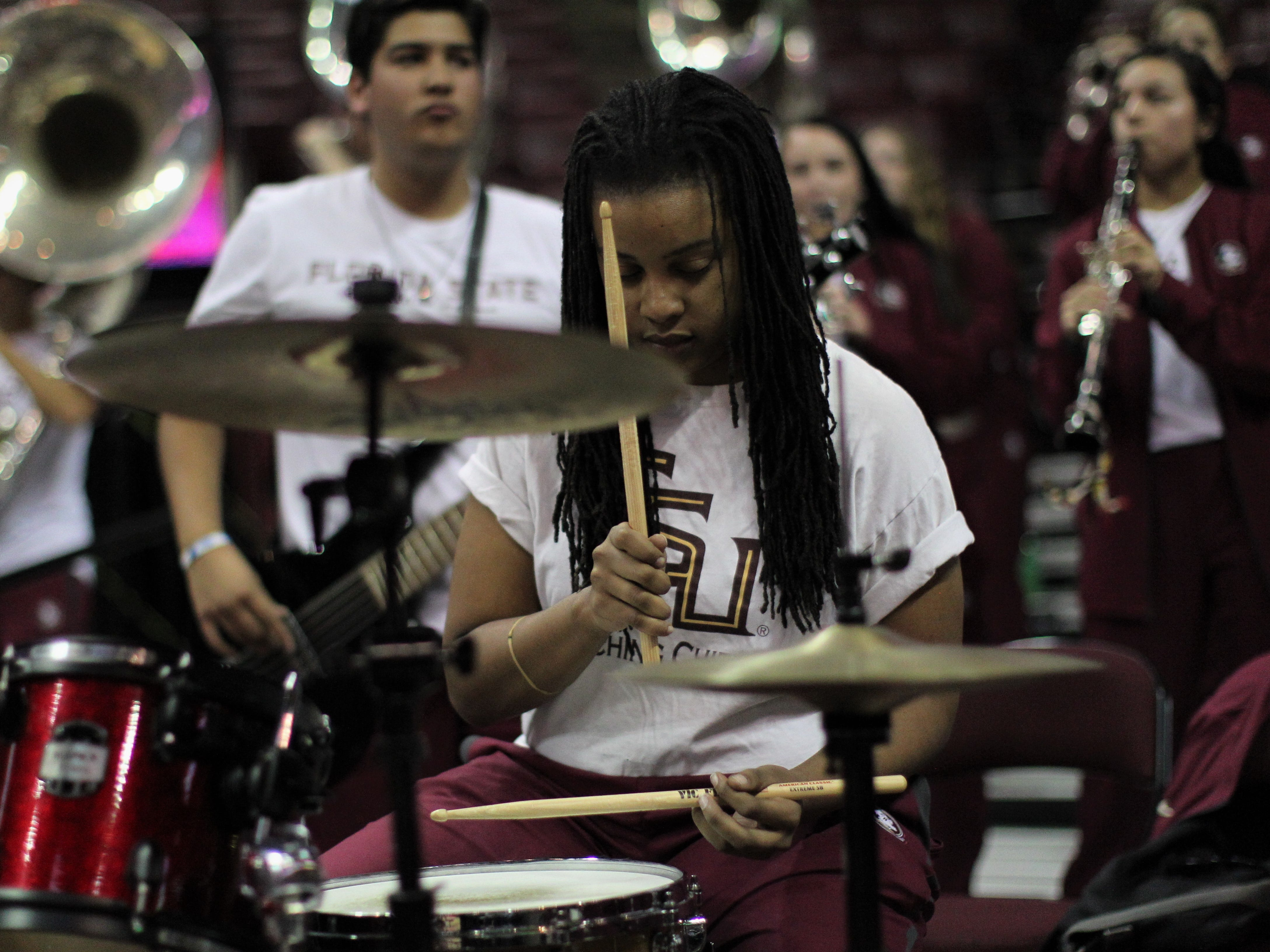 The FSU band plays during the first half of the Seminoles' women's basketball game against Florida at the Tucker Civic Center on Nov. 11, 2018.