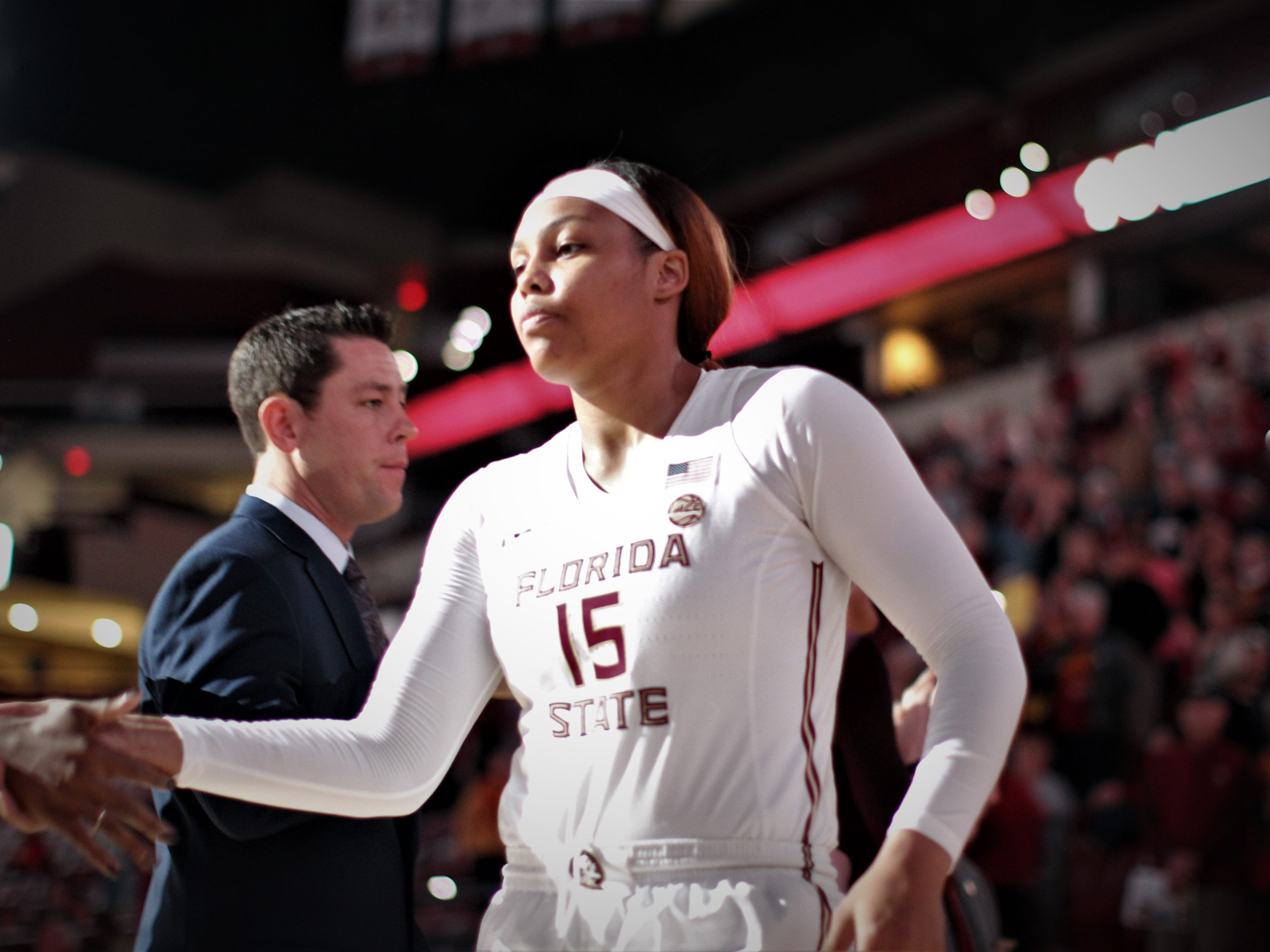 Florida State junior Kiah Gillespie is introduced as a starter prior to the Seminoles' game against Florida at the Tucker Civic Center on Nov. 11, 2018.