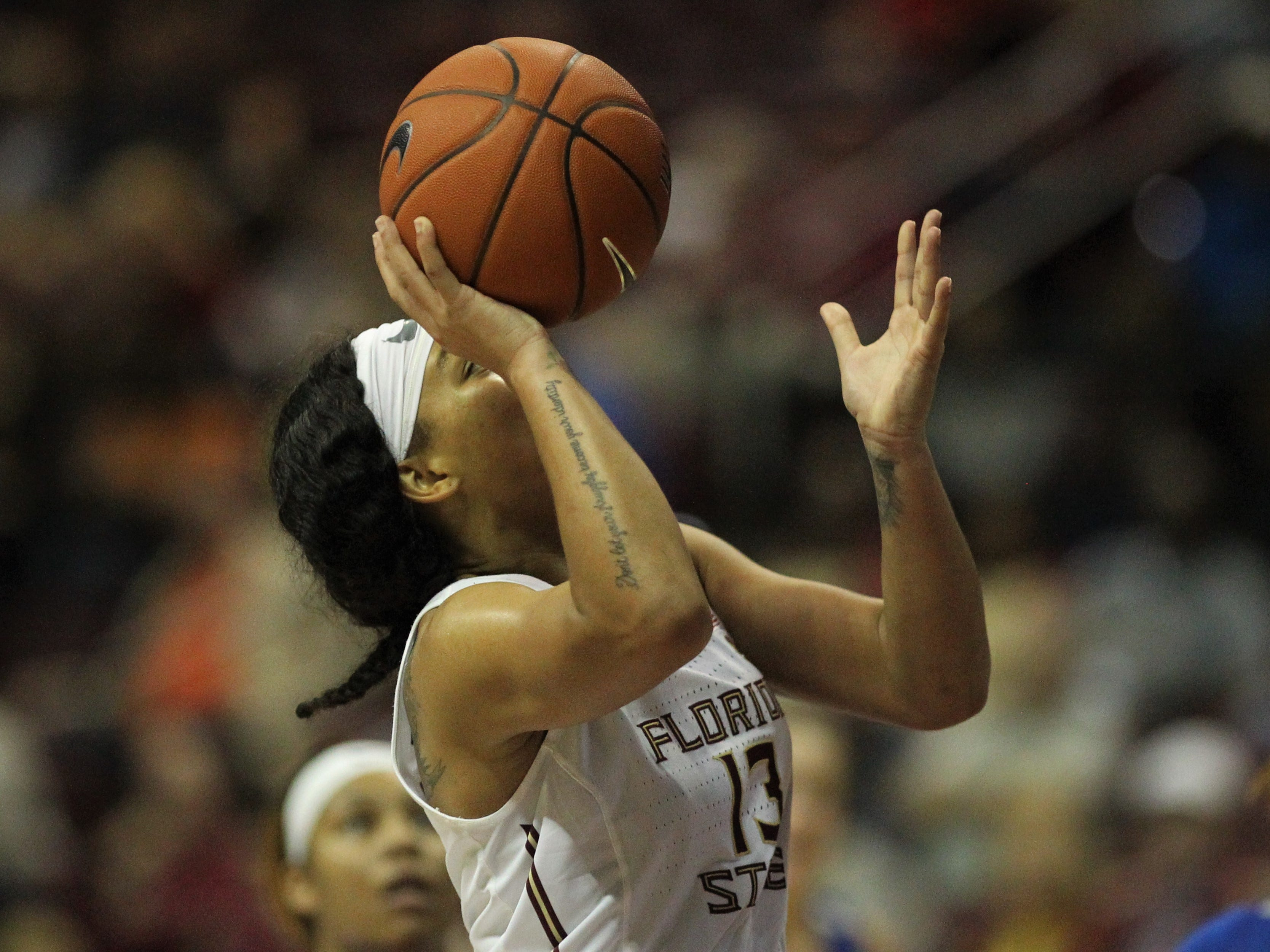 Florida State's Nausia Woolfolk goes up for a layup during the second half of the Seminoles' game against Florida at the Tucker Civic Center on Nov. 11, 2018.