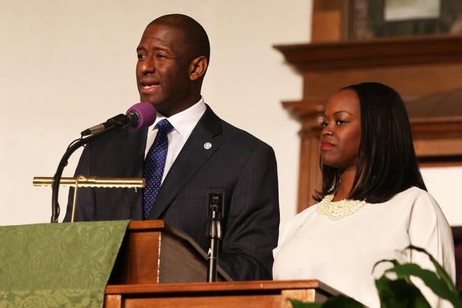 Mayor Andrew Gillum conceded the Florida governor race Saturday night. In this file Nov. 11, 2018 file photo, he spoke at Bethel AME Church, asking for continued prayer and support for the race for Florida Governor.