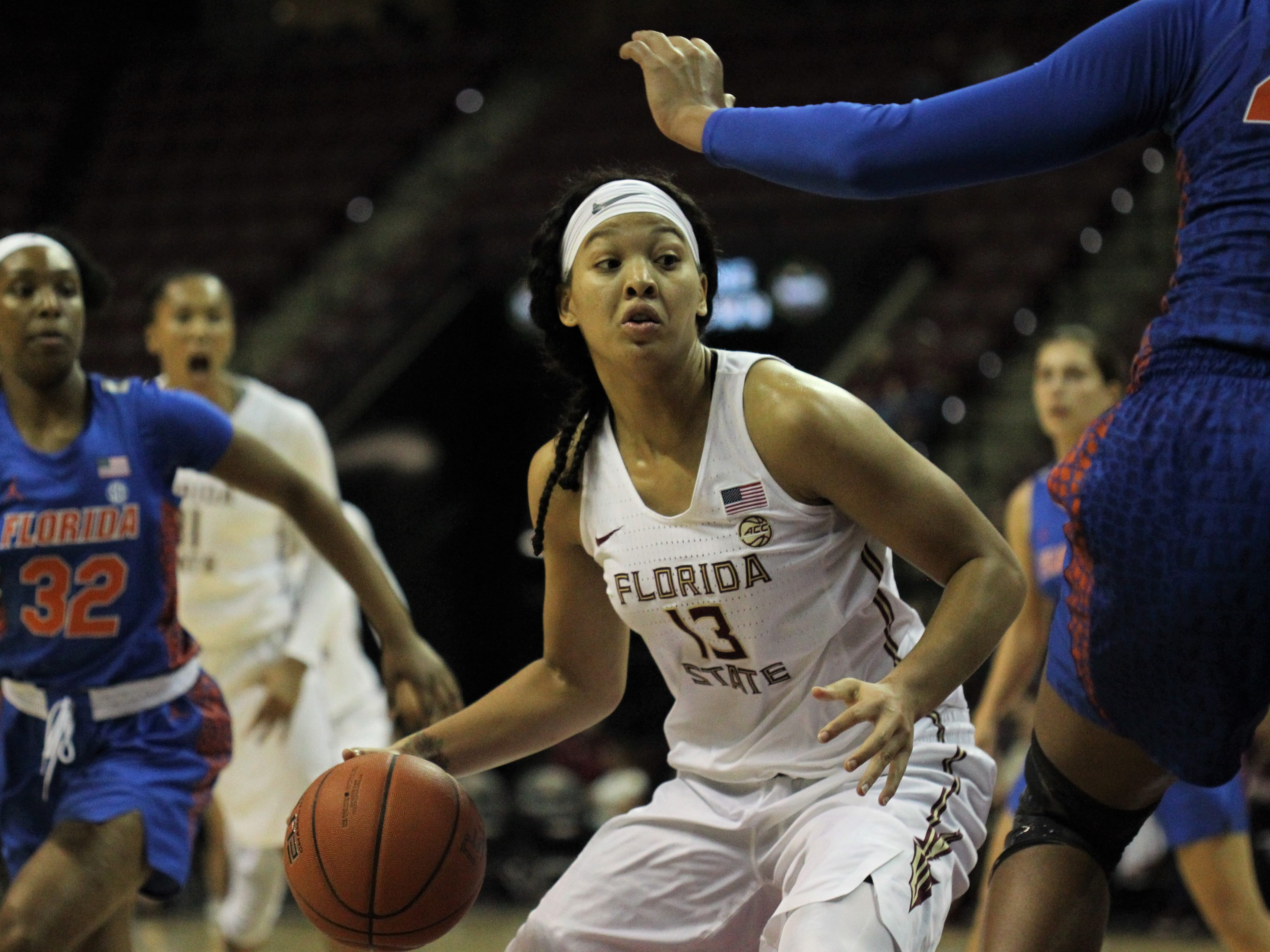 Florida State's Nausia Woolfolk tries to drive during the first half of the Seminoles' game against Florida at the Tucker Civic Center on Nov. 11, 2018.