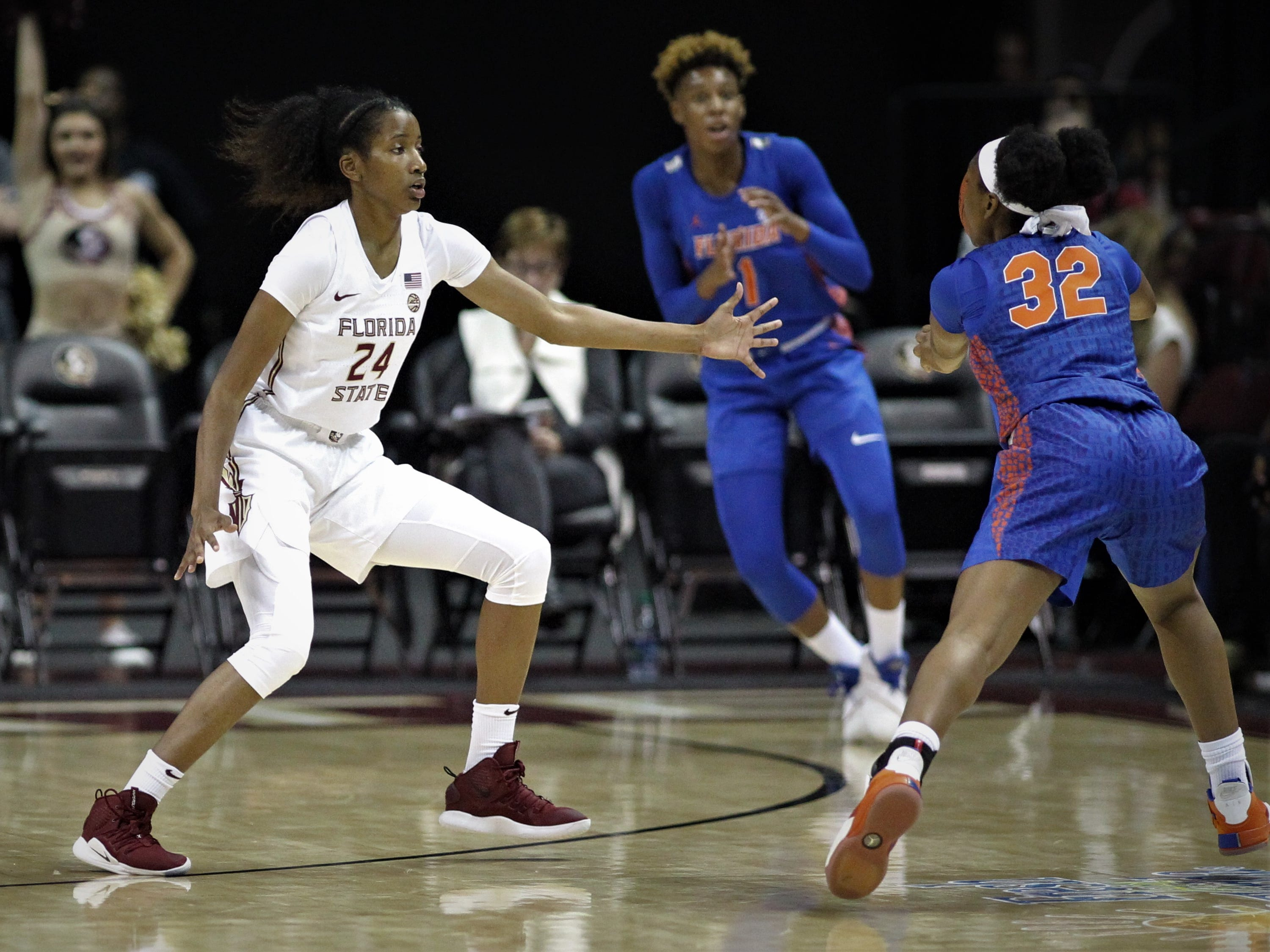 Florida State freshman Morgan Jones guards the perimeter during the first half of the Seminoles' game against Florida at the Tucker Civic Center on Nov. 11, 2018.