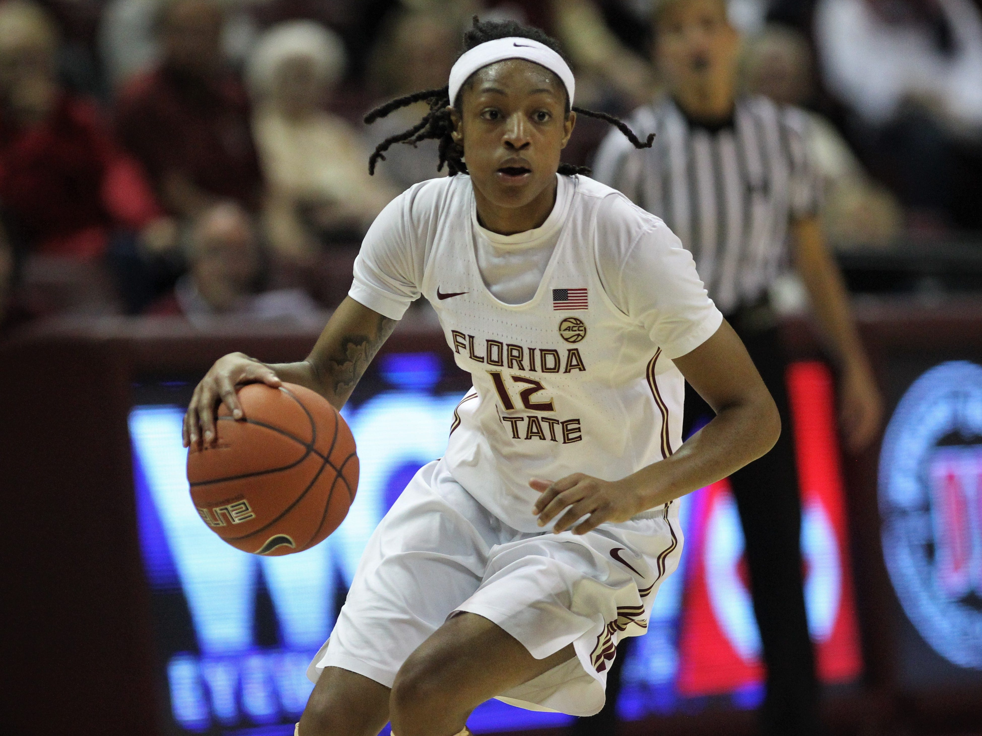 Florida State guard Nicki Ekhomu drives to the basket during the second half of the Seminoles' game against Florida at the Tucker Civic Center on Nov. 11, 2018.