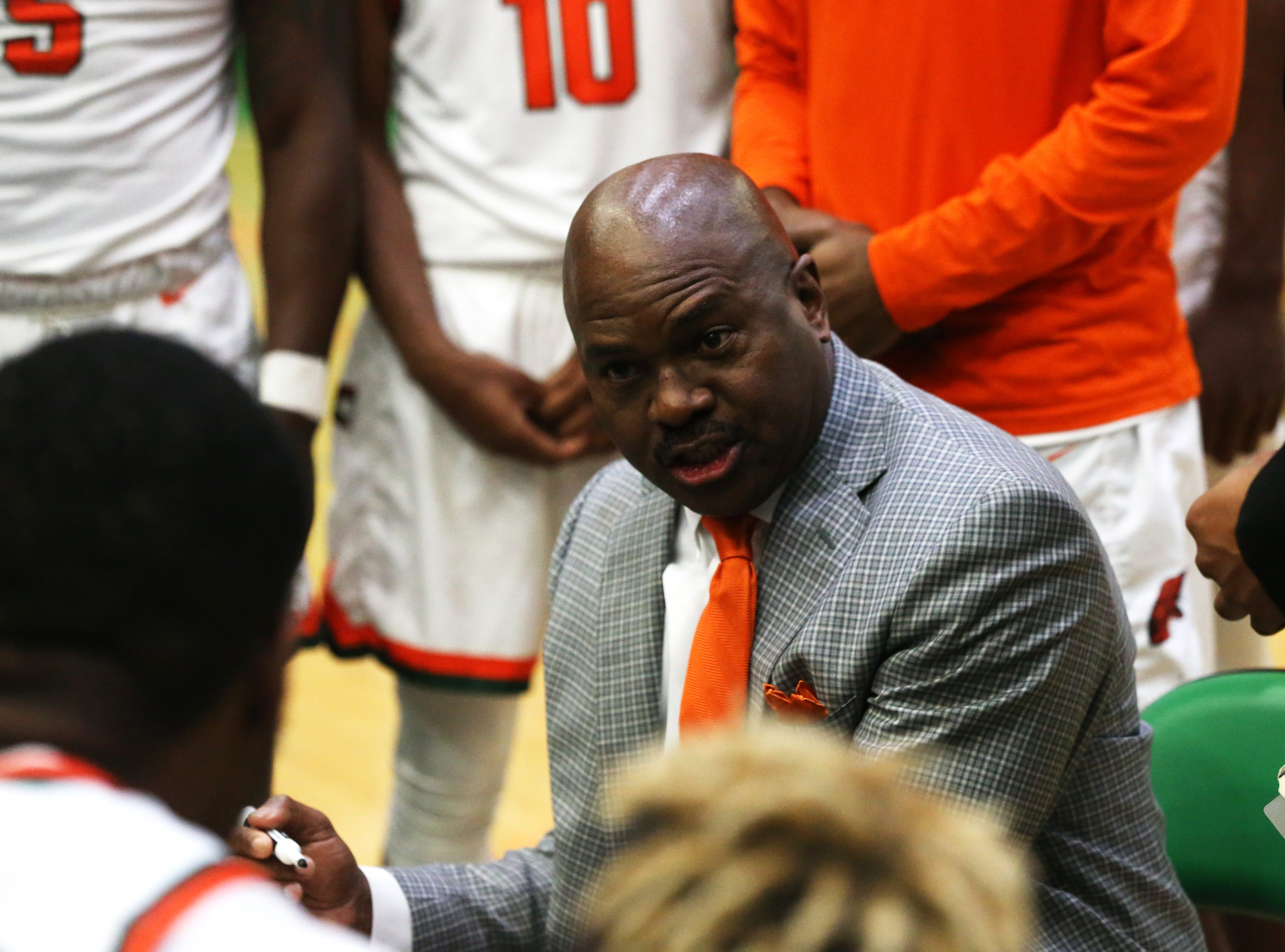 Head Coach, Robert McCullum tells the team how to fix their mistakes as the FAMU Rattlers take on the Tuskegee Golden Tigers in their first home game of the season in the Lawson Center, Saturday, Nov. 10, 2018.