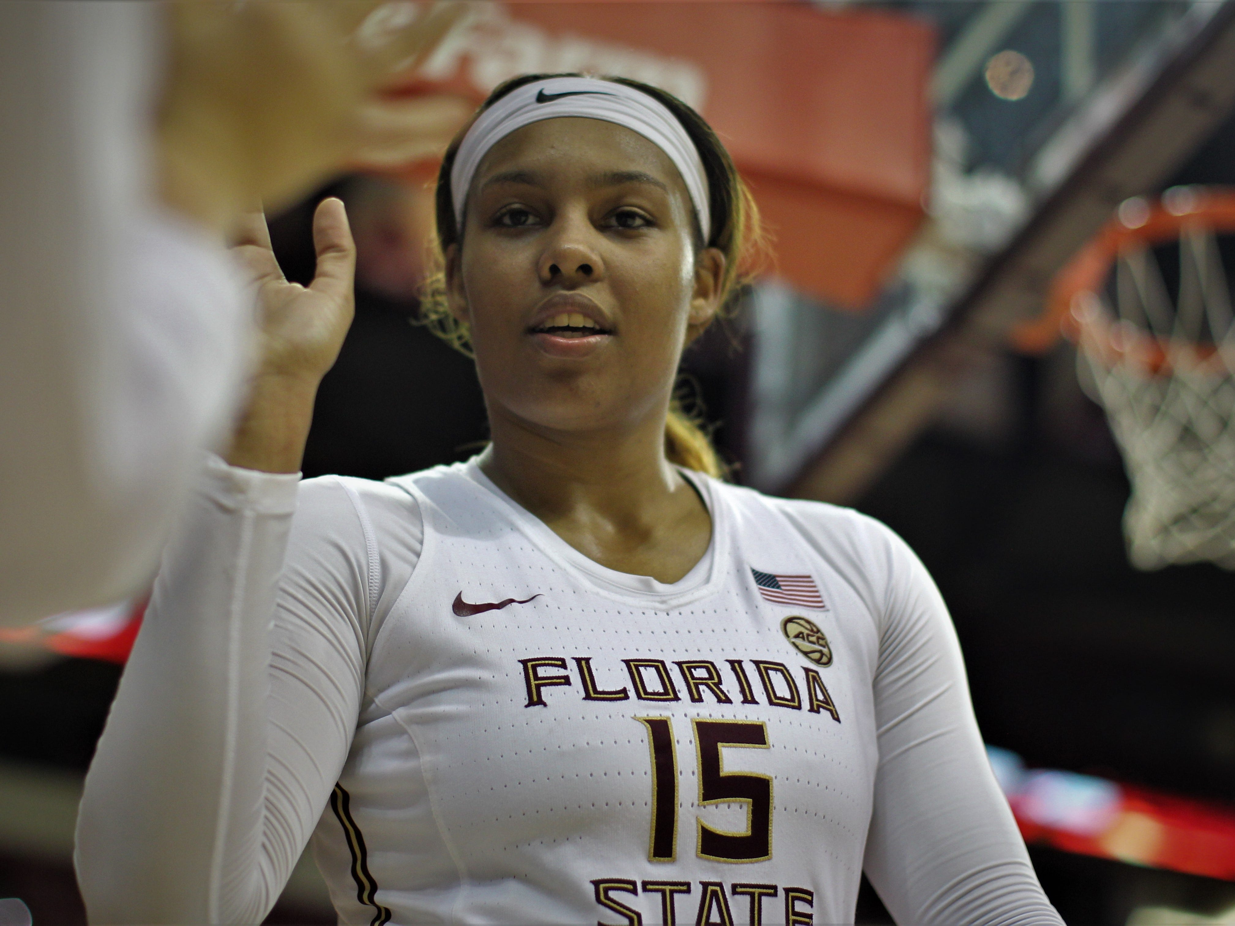 Florida State's Kiah Gillespie celebrates a win over Florida at the Tucker Civic Center on Nov. 11, 2018.