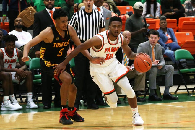 Florida A&M Rattlers guard Richard Anderson (10) drives the ball down the court as the FAMU Rattlers take on the Tuskegee Golden Tigers in their first home game of the season in the Lawson Center, Saturday, Nov. 10, 2018.