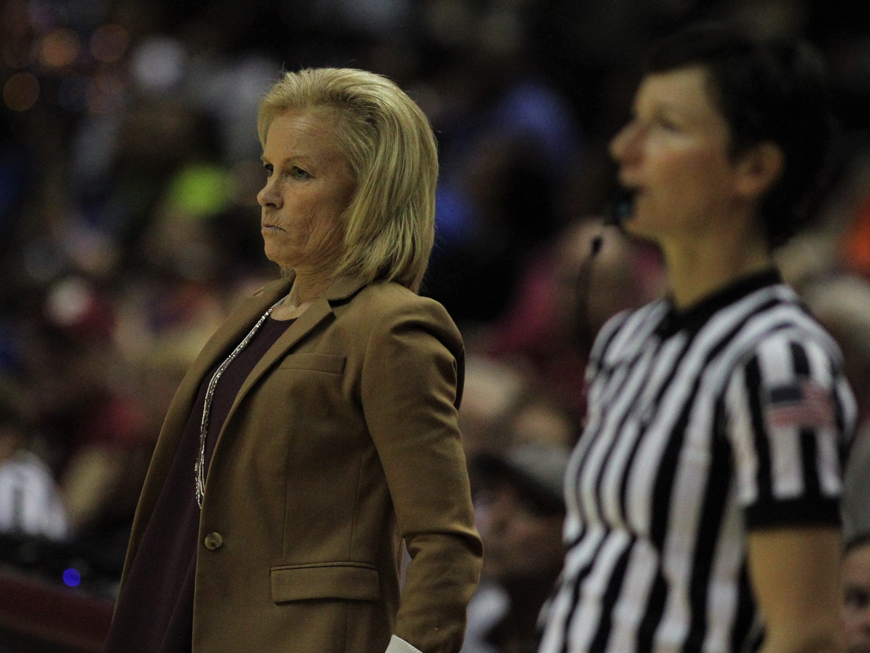 Florida State women's basketball coach Sue Semrau watches her team during the second half of the Seminoles' game against Florida at the Tucker Civic Center on Nov. 11, 2018.