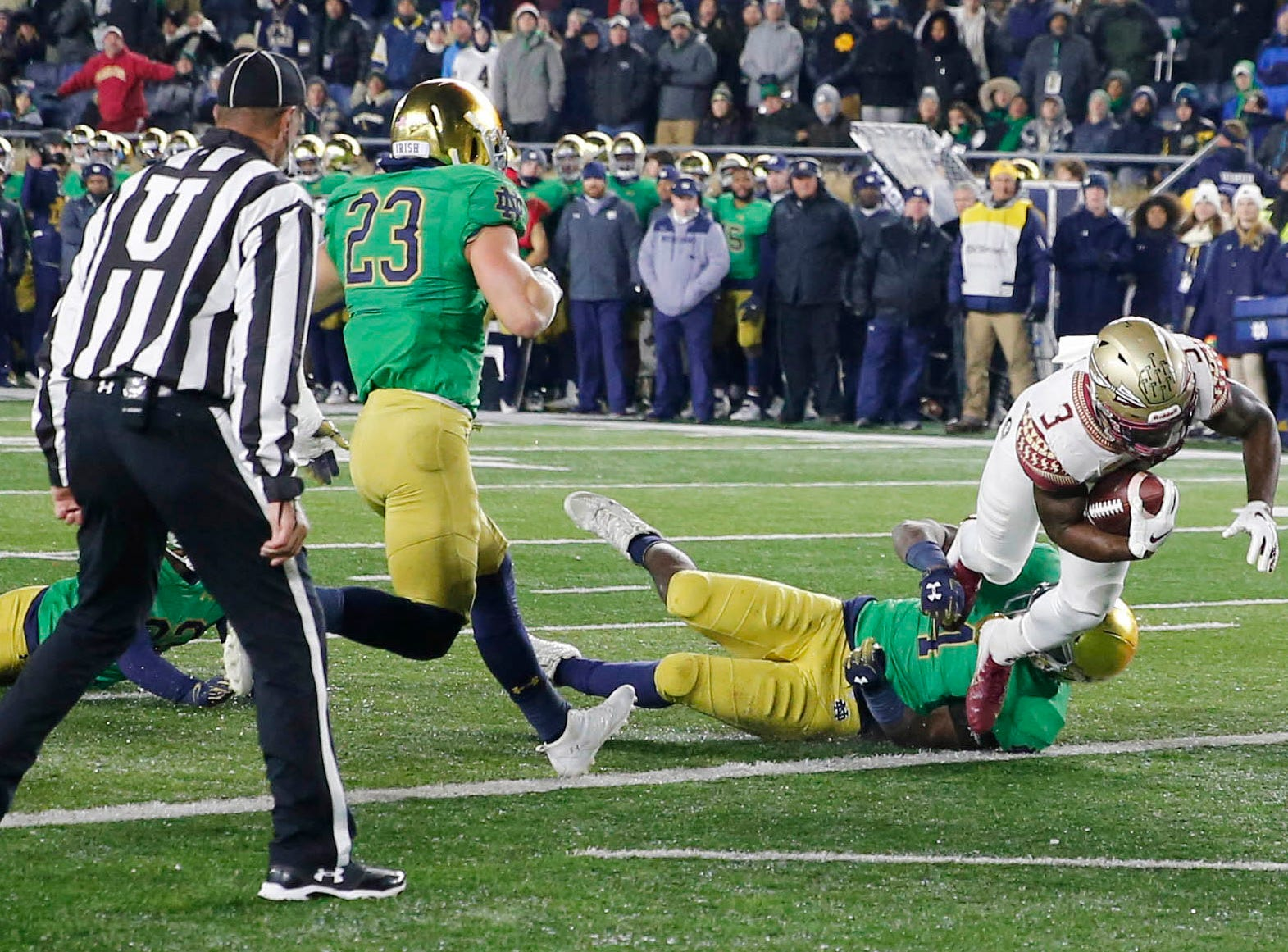 Nov 10, 2018; South Bend, IN, USA; Florida State Seminoles running back (3) Cam Akers scores a touchdown against the Notre Dame Fighting Irish during the second quarter at Notre Dame Stadium. Mandatory Credit: Brian Spurlock-USA TODAY Sports