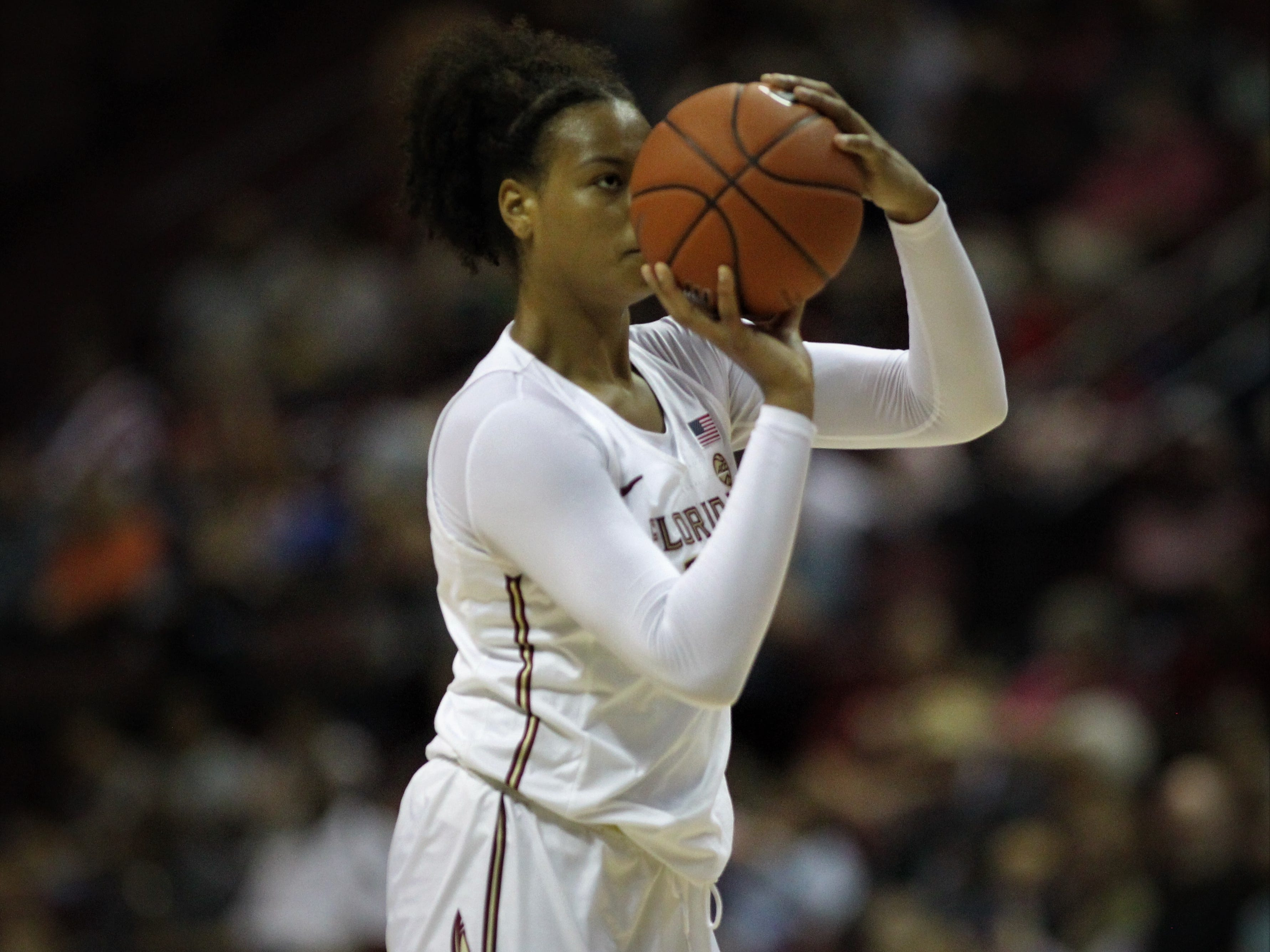 Florida State freshman Valencia Myers shoots a jumper during the first half of the Seminoles' game against Florida at the Tucker Civic Center on Nov. 11, 2018.