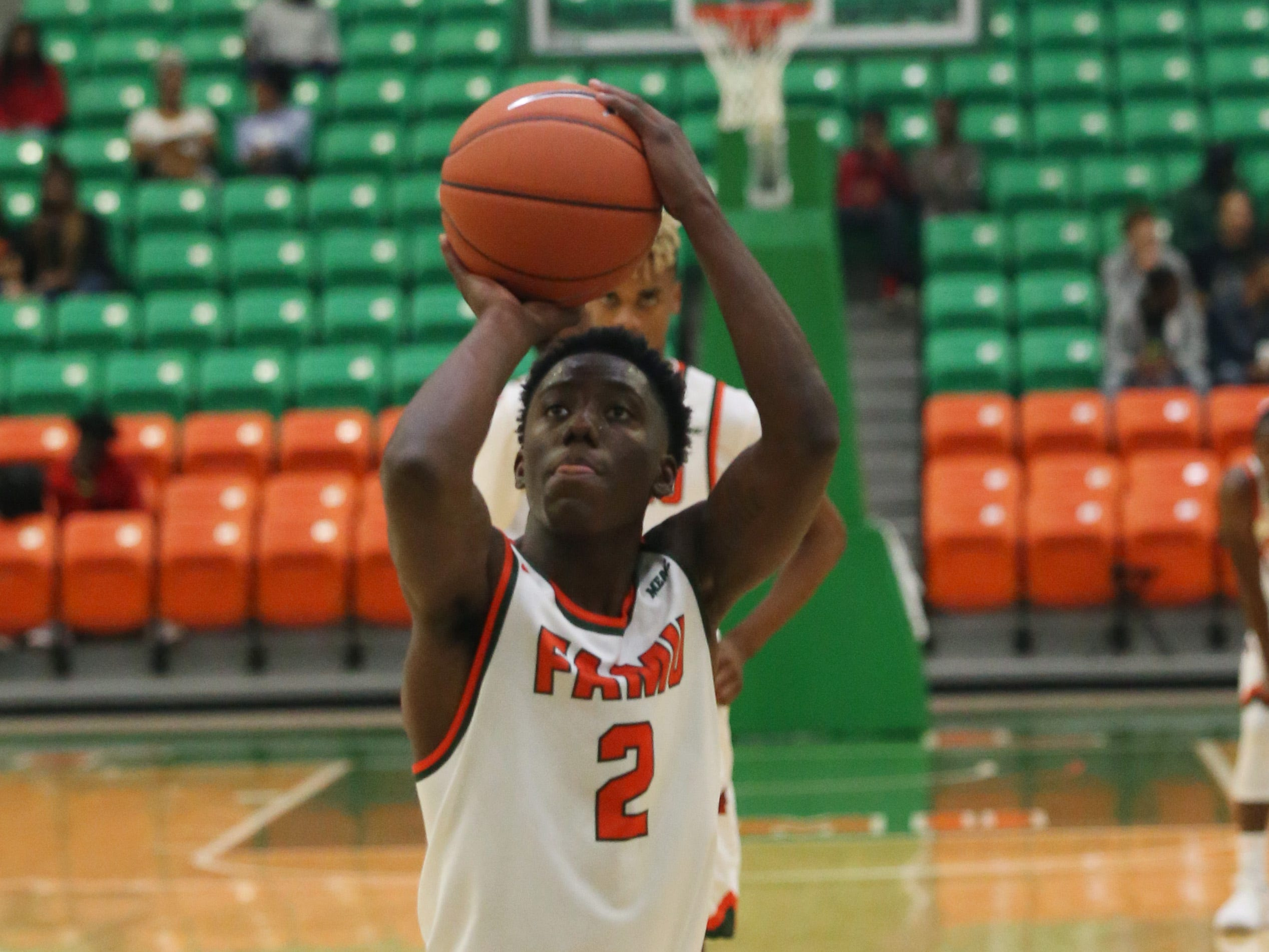 Florida A&M Rattlers guard Kamron Reaves (2) shoots a free throw as the FAMU Rattlers take on the Tuskegee Golden Tigers in their first home game of the season in the Lawson Center, Saturday, Nov. 10, 2018.