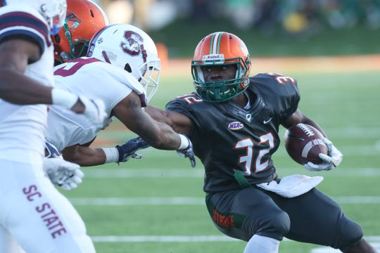 FAMU running back DeShawn Smith had 78 yards and two touchdowns versus South Carolina State. He aims to upgrade this total versus Bethune-Cookman in the Florida Classic.