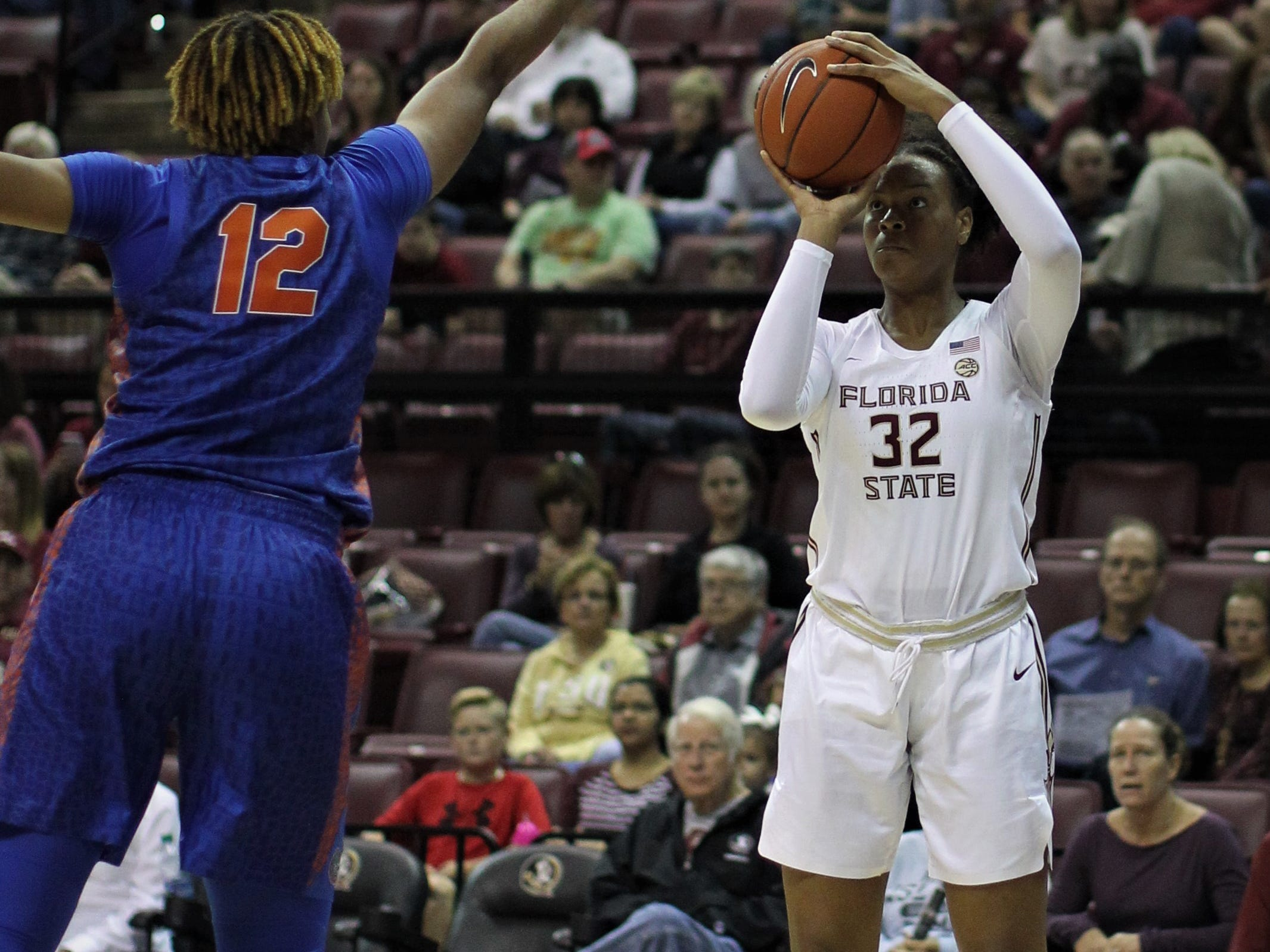 Florida State's Valencia Myers takes a jumper during the first half of the Seminoles' game against Florida at the Tucker Civic Center on Nov. 11, 2018.