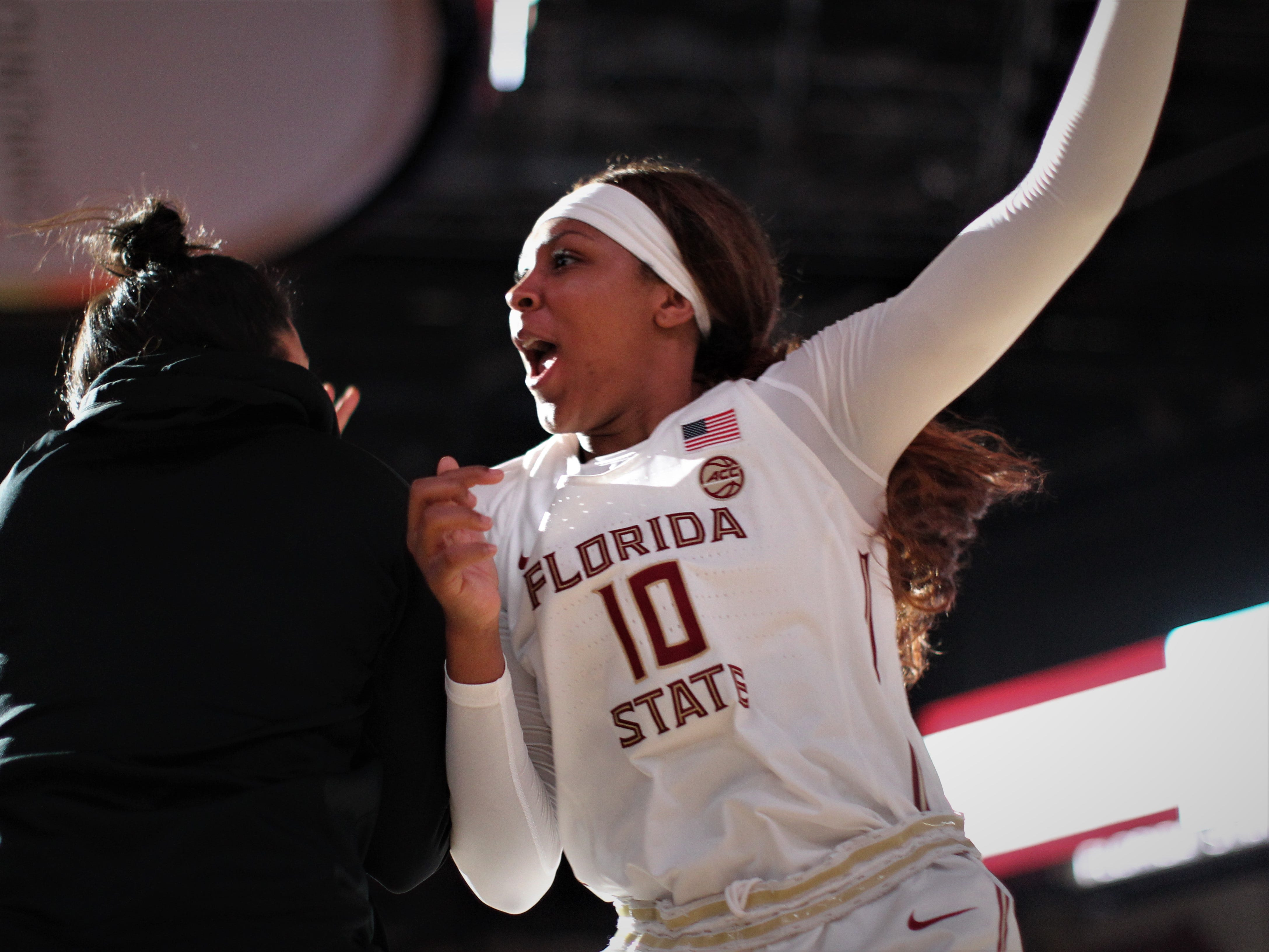Florida State freshman Kourtney Weber is introduced as a starter before the Seminoles' game against Florida at the Tucker Civic Center on Nov. 11, 2018.
